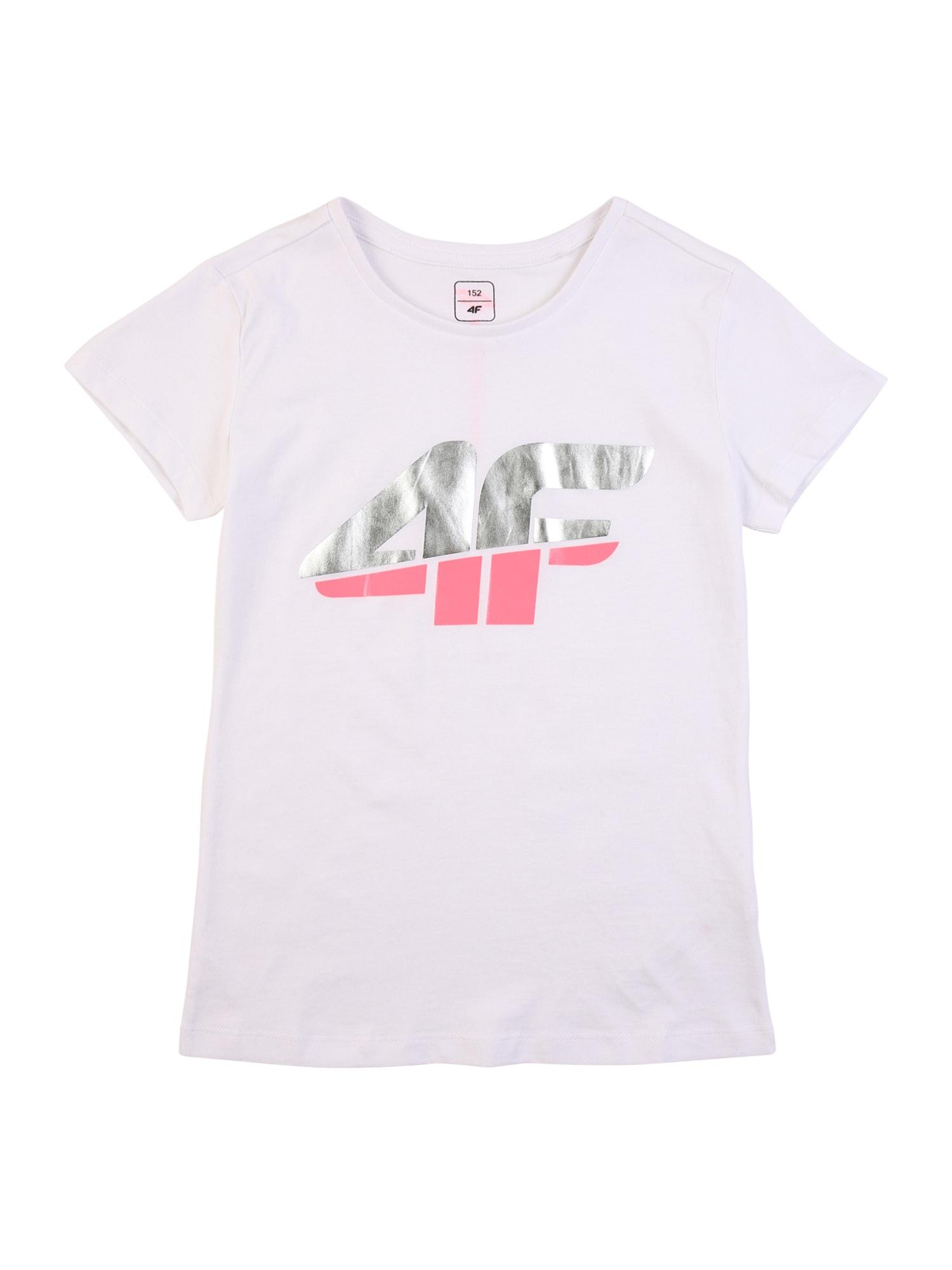 4F Sportiniai marškinėliai balta / rožinė / sidabrinė
