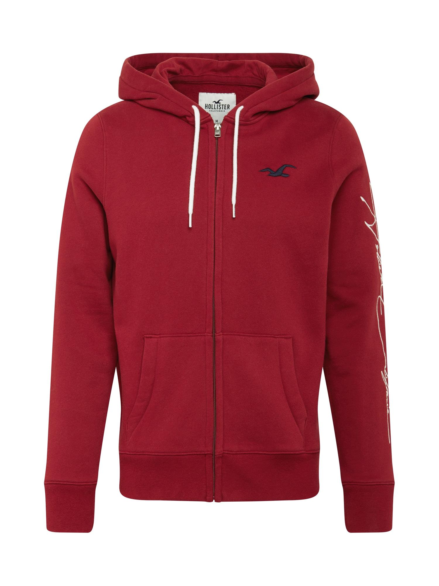 HOLLISTER Džemperis pastelinė raudona / tamsiai mėlyna / balta