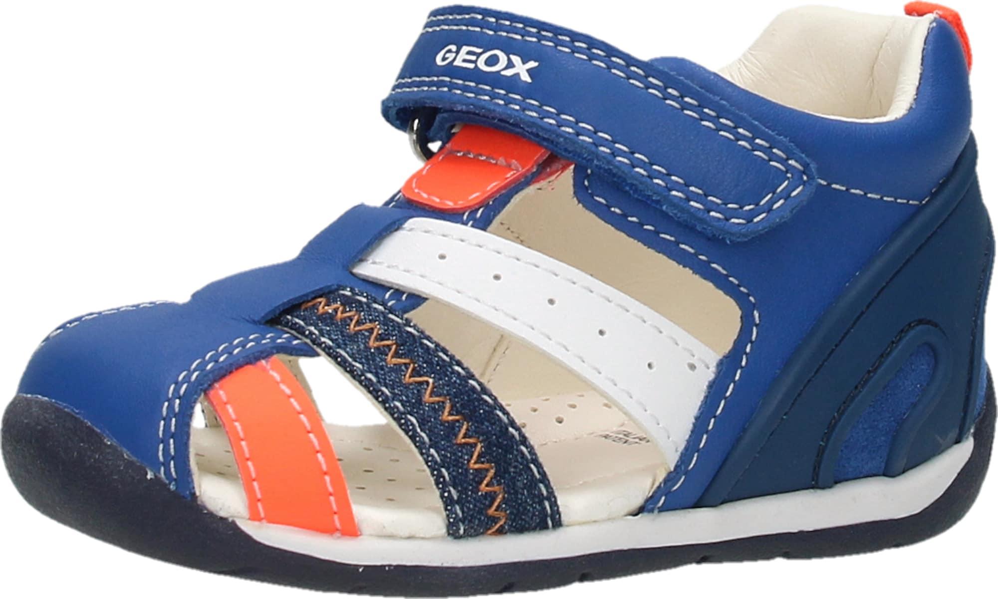 """GEOX Atviri batai sodri mėlyna (""""karališka"""") / tamsiai mėlyna / neoninė oranžinė / balta"""