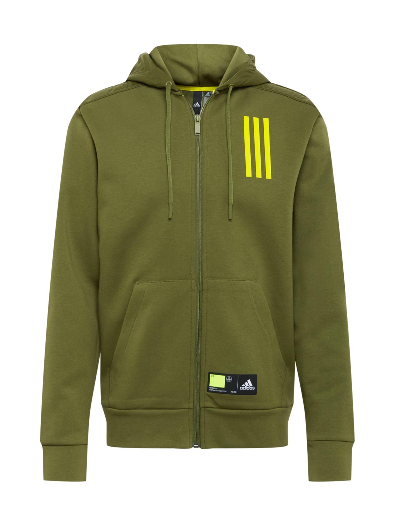 ADIDAS PERFORMANCE Sportinis džemperis alyvuogių spalva / juoda / neoninė geltona