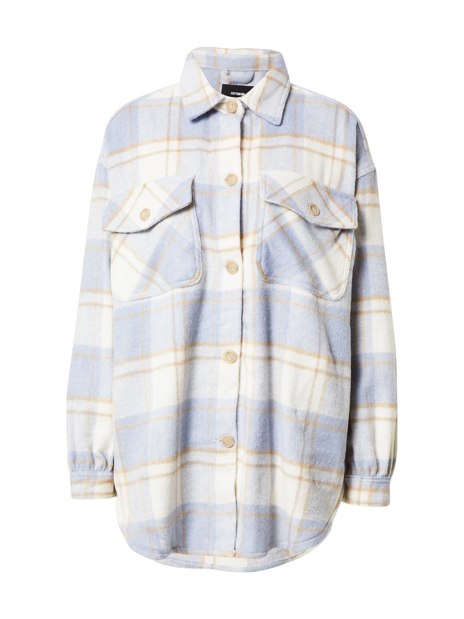 Cotton On Demisezoninė striukė mėlyna dūmų spalva / balta / gelsvai pilka spalva