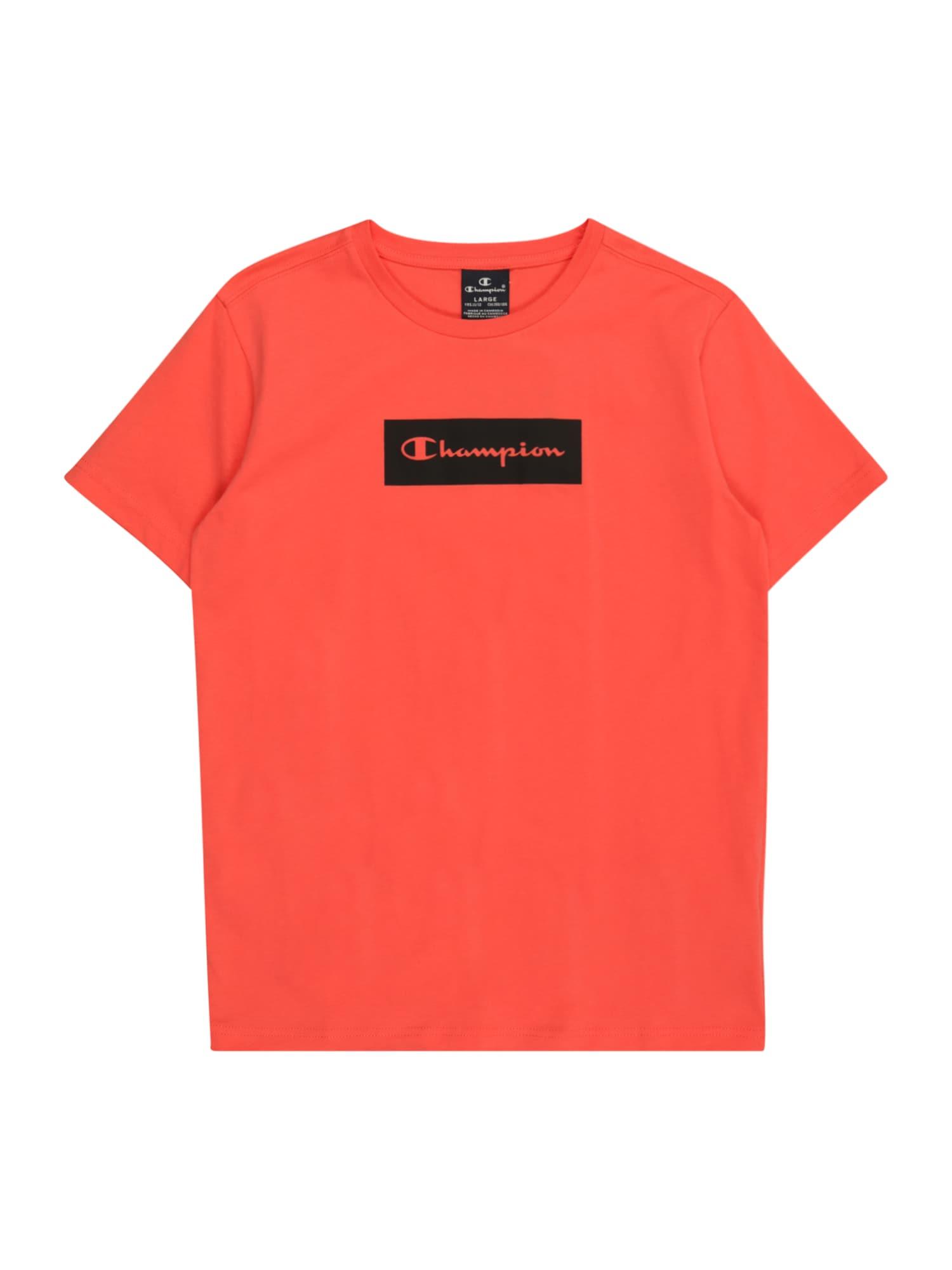 Champion Authentic Athletic Apparel Marškinėliai tamsiai rožinė / juoda
