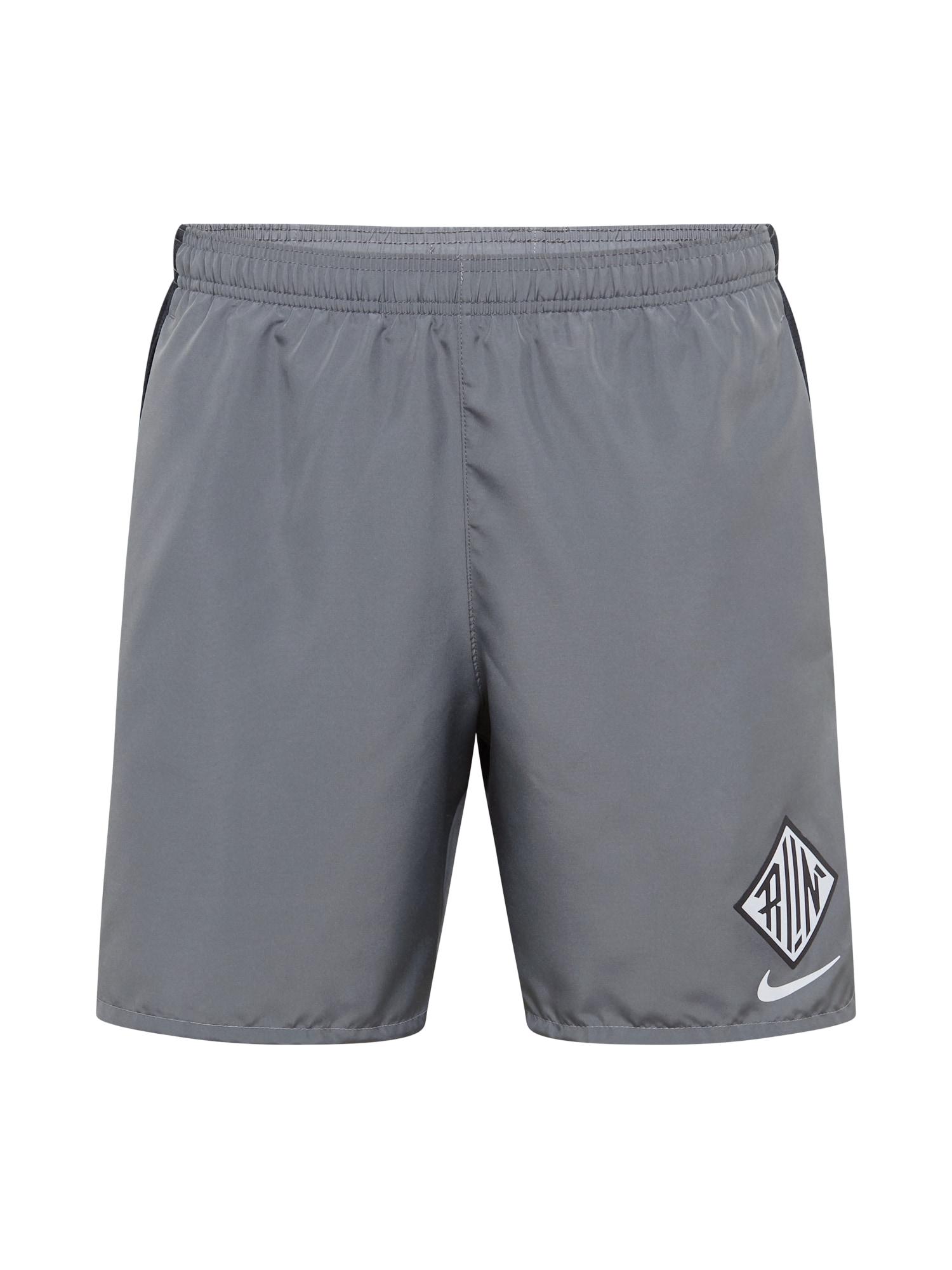 NIKE Sportovní kalhoty 'Challenger Wild Run'  šedá / černá