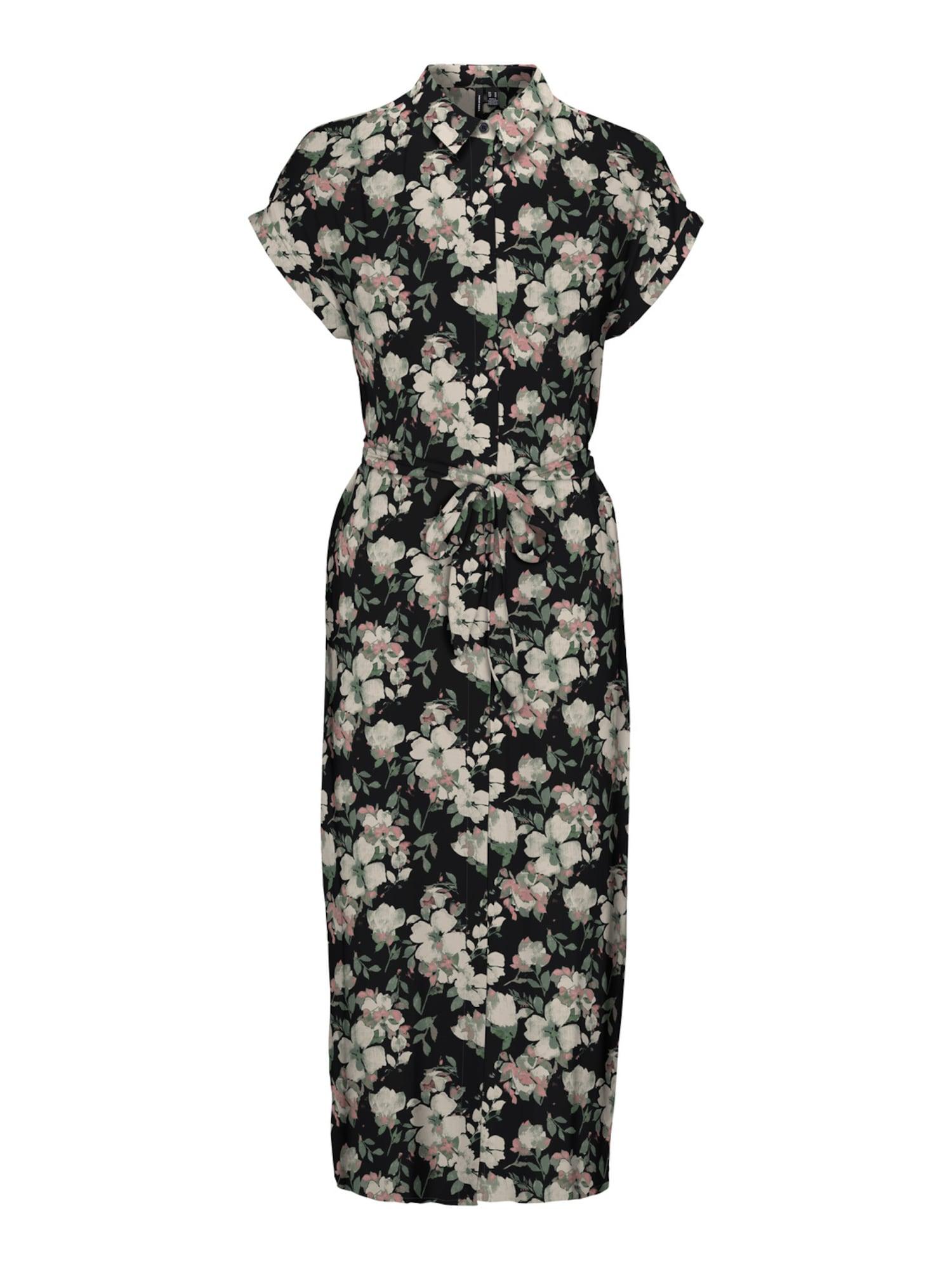 VERO MODA Košilové šaty 'Ines'  černá / růžová / mátová / bílá