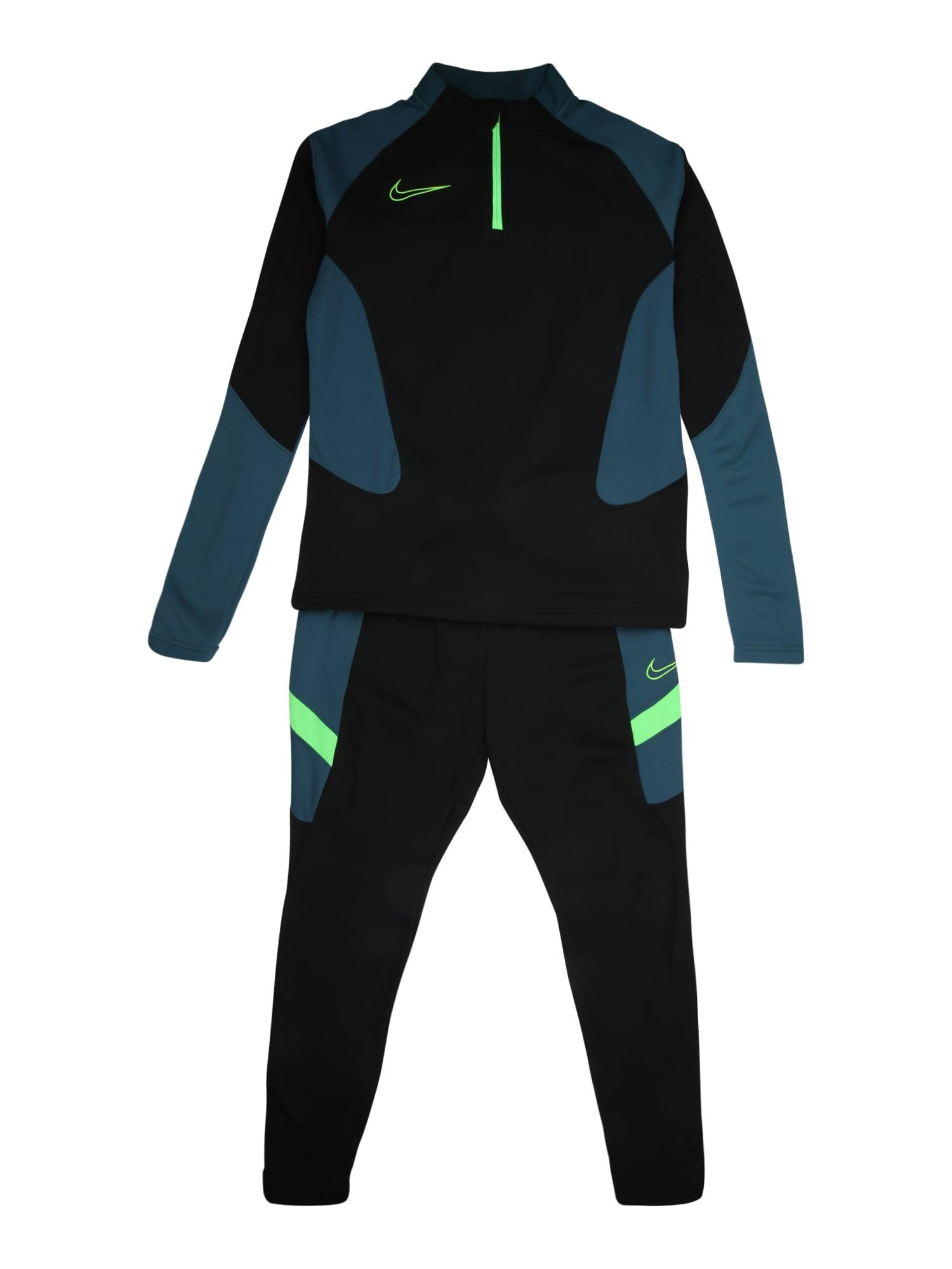 NIKE Sportinis kostiumas benzino spalva / juoda / neoninė žalia