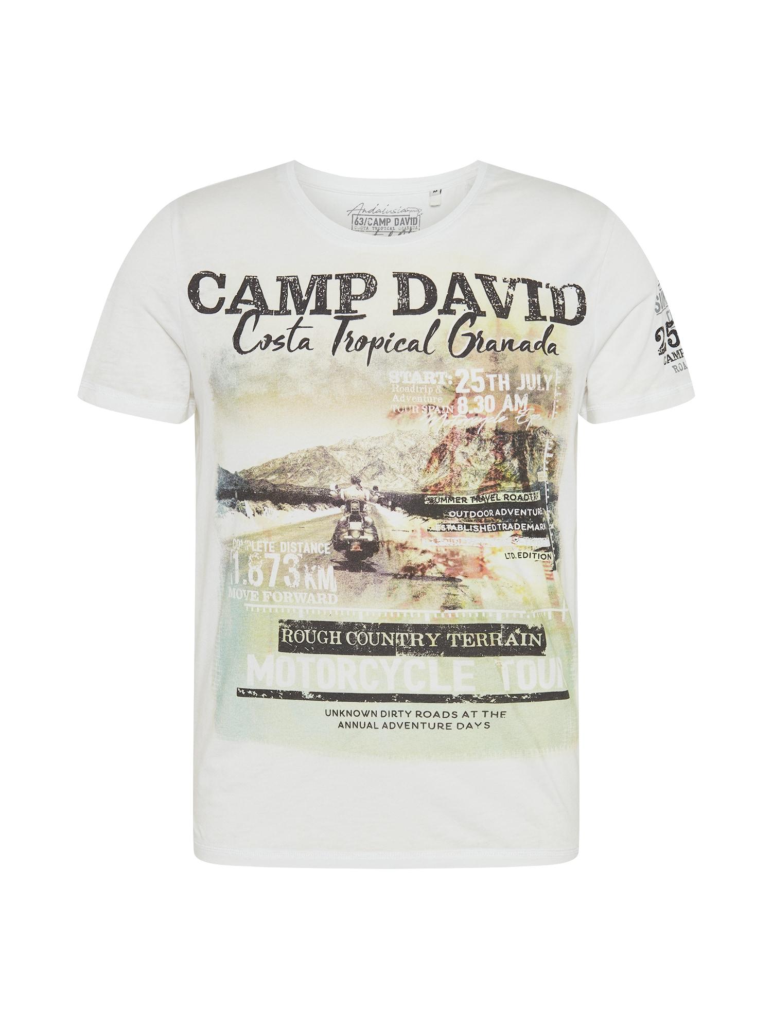 CAMP DAVID Marškinėliai balta / juoda / mėtų spalva / ruda