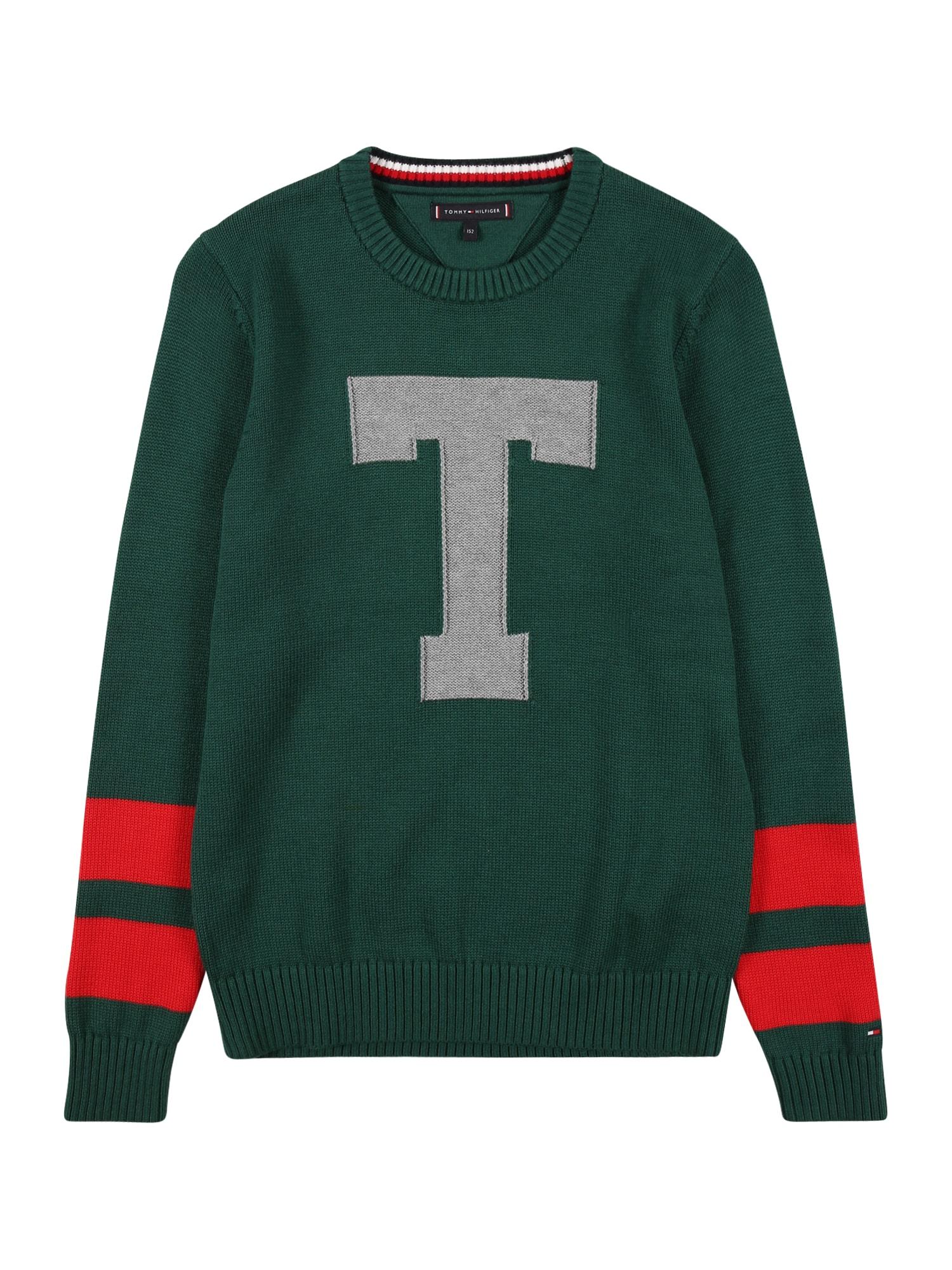 TOMMY HILFIGER Megztinis 'LETTER' žalia / pilka / raudona