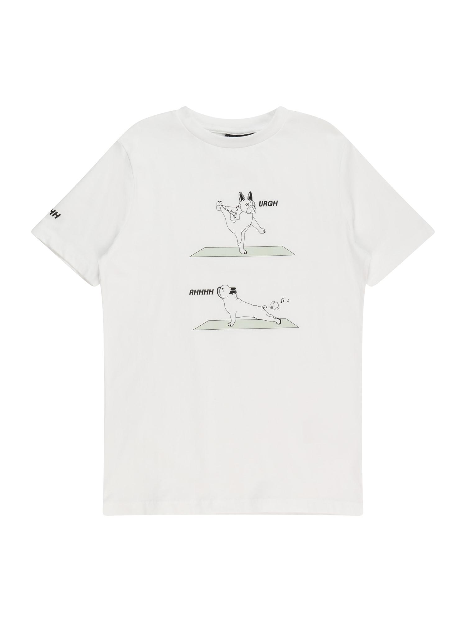 LMTD Marškinėliai balta / juoda / pastelinė žalia