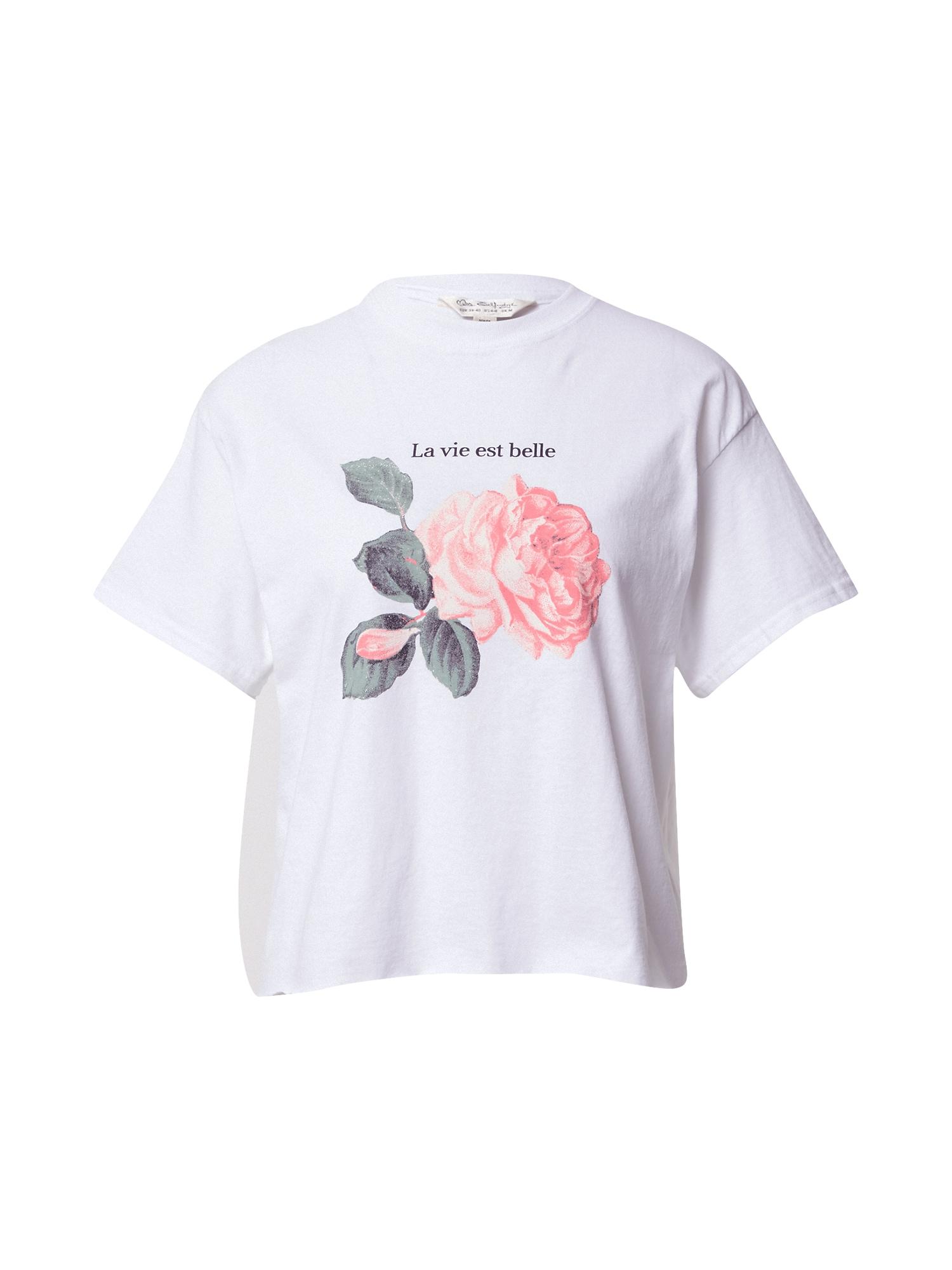 Miss Selfridge Marškinėliai balta / žalia / rožinė
