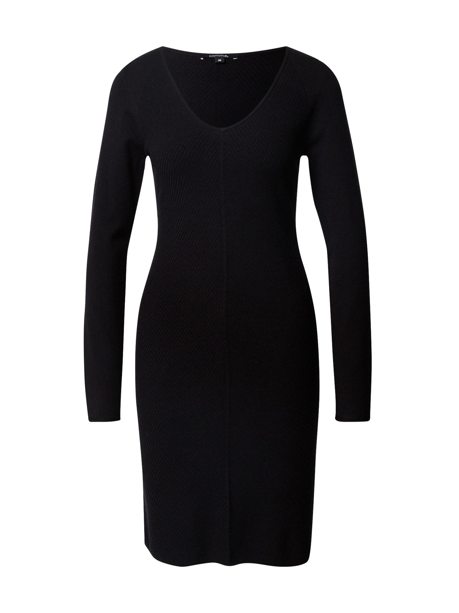 COMMA Úpletové šaty  černá