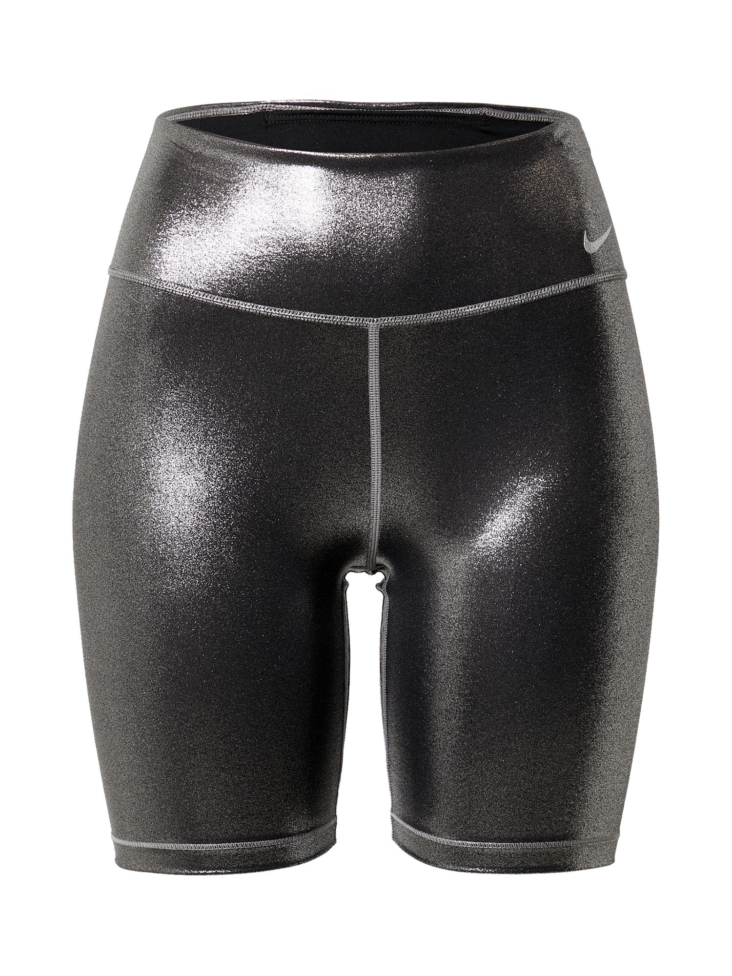 NIKE Sportovní kalhoty  černá / stříbrně šedá