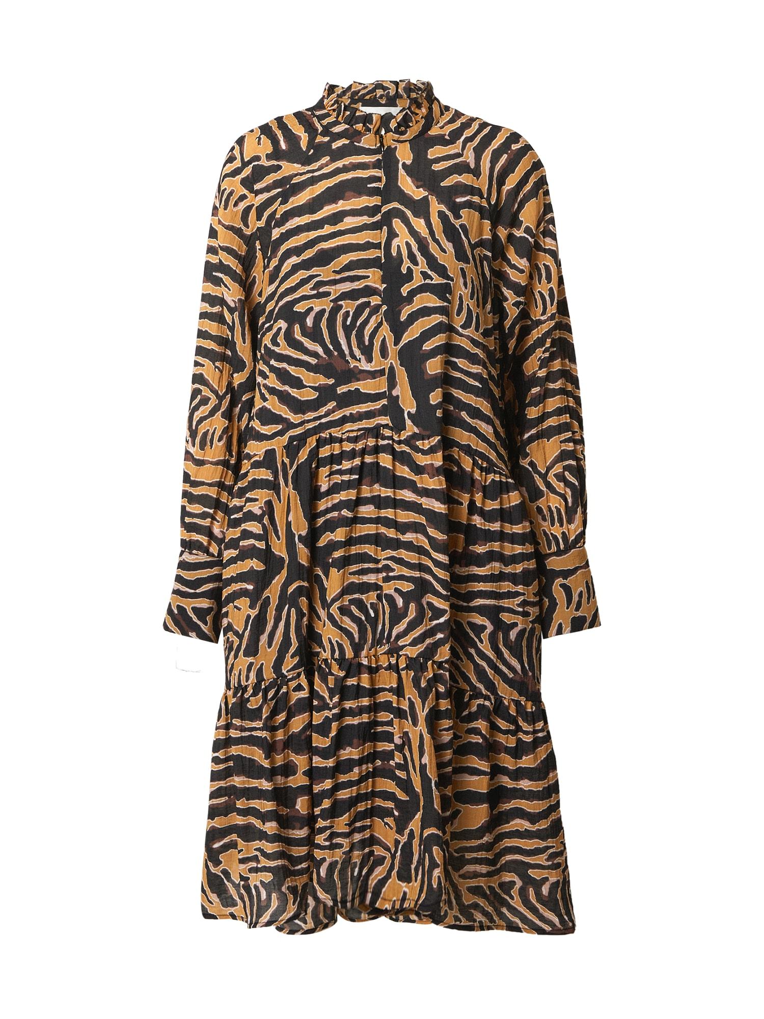 SECOND FEMALE Suknelė garstyčių spalva / juoda / balta / vyšninė spalva