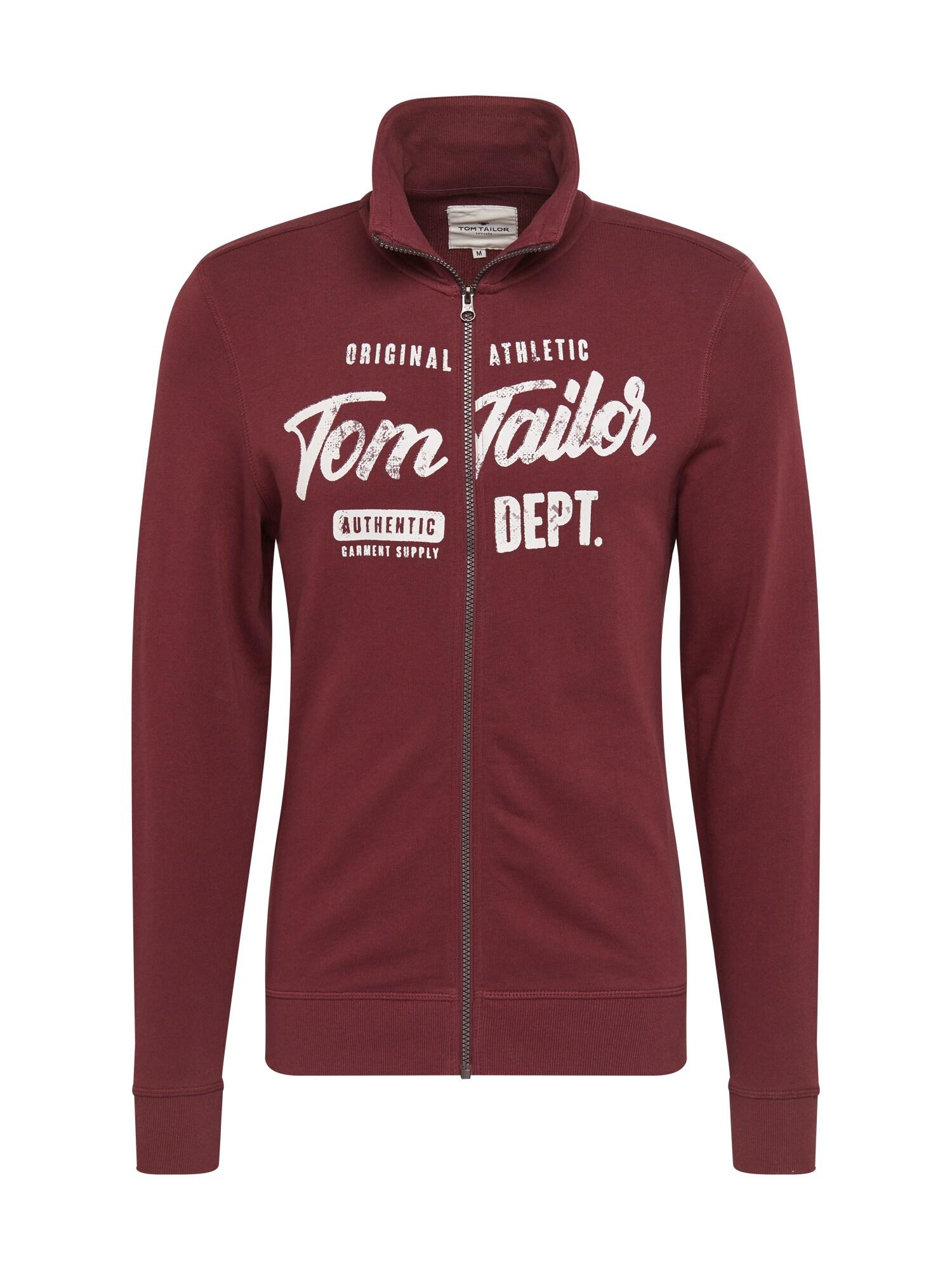 TOM TAILOR Džemperis balta / tamsiai raudona