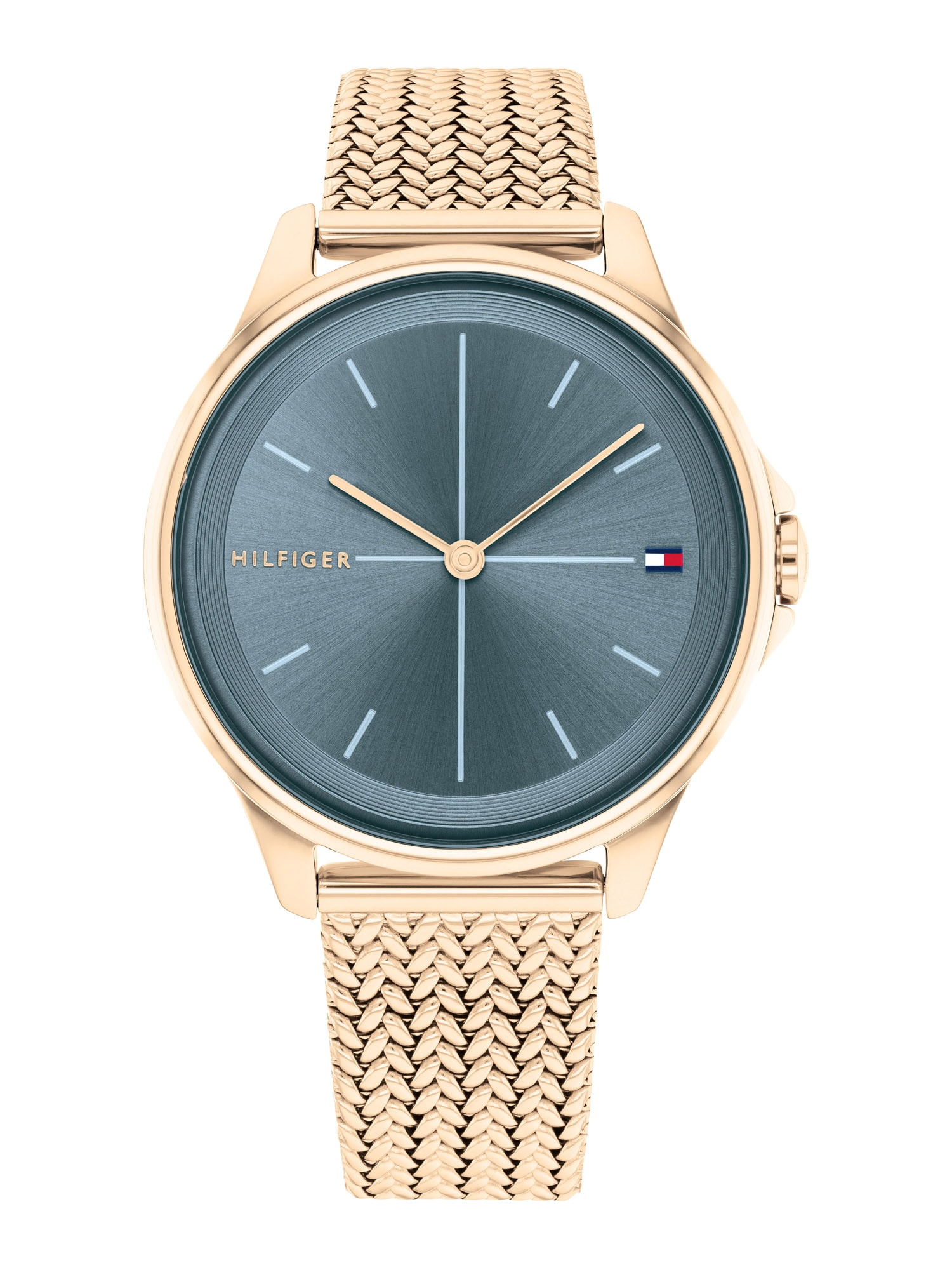 TOMMY HILFIGER Analoginis (įprasto dizaino) laikrodis rožinio aukso spalva / tamsiai mėlyna