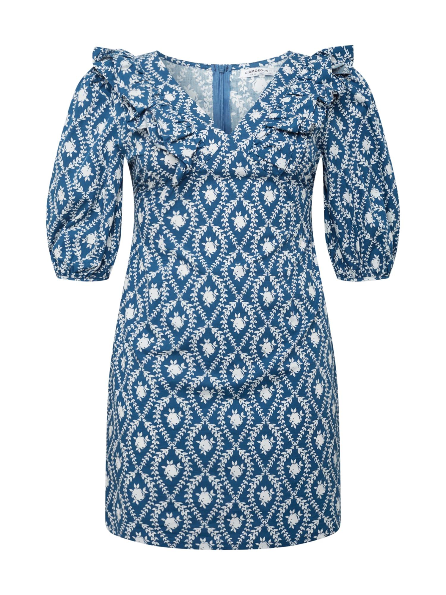GLAMOROUS CURVE Suknelė balta / tamsiai mėlyna