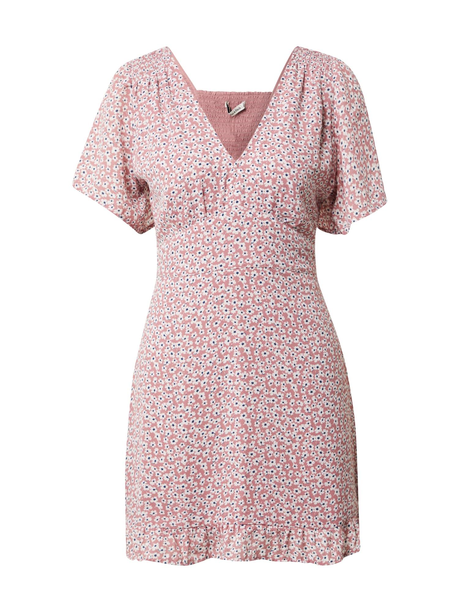 Abercrombie & Fitch Vasarinė suknelė ryškiai rožinė spalva / balta / mėlyna