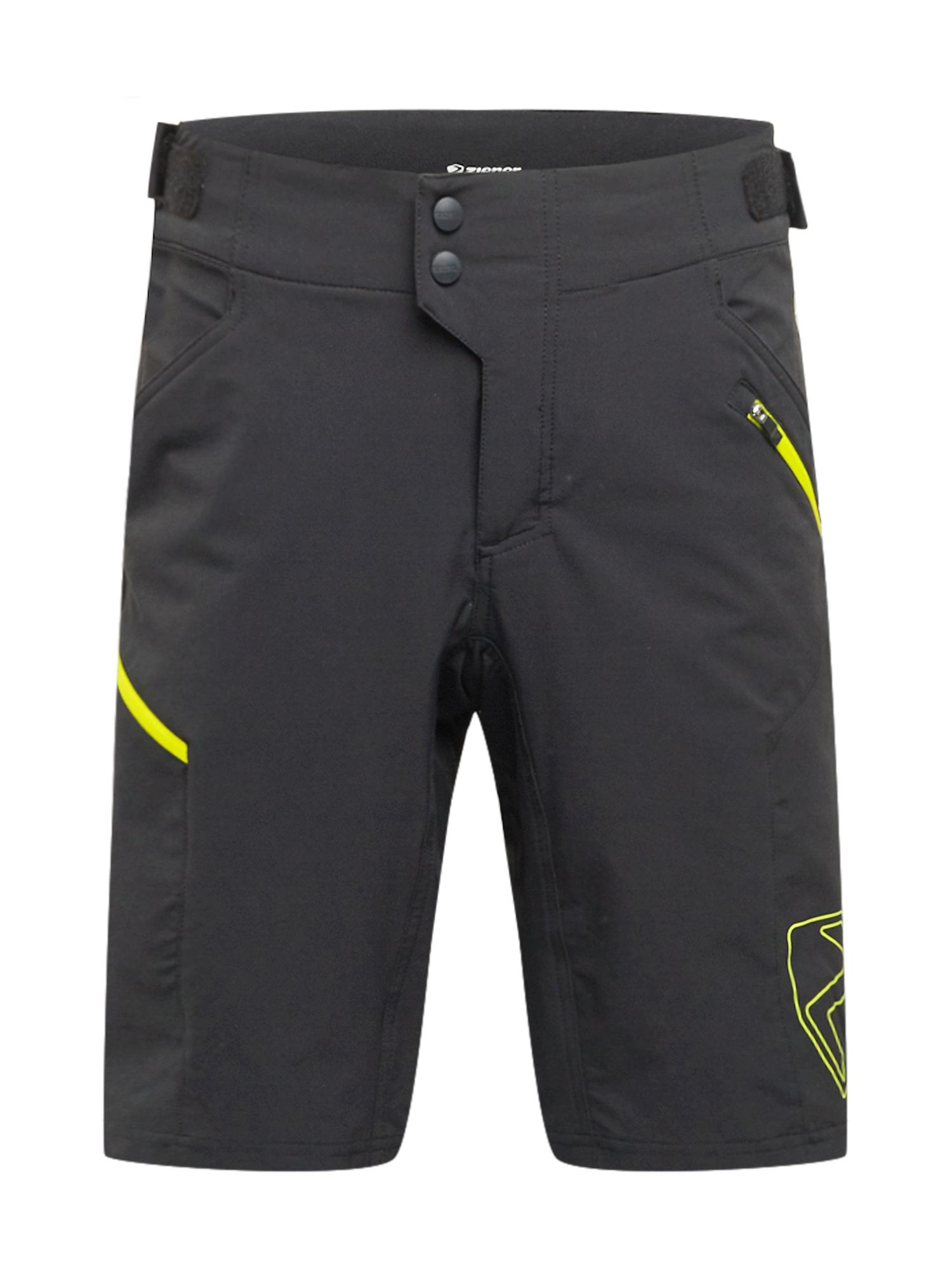 ZIENER Sportovní kalhoty 'NEONUS'  černá / svítivě žlutá