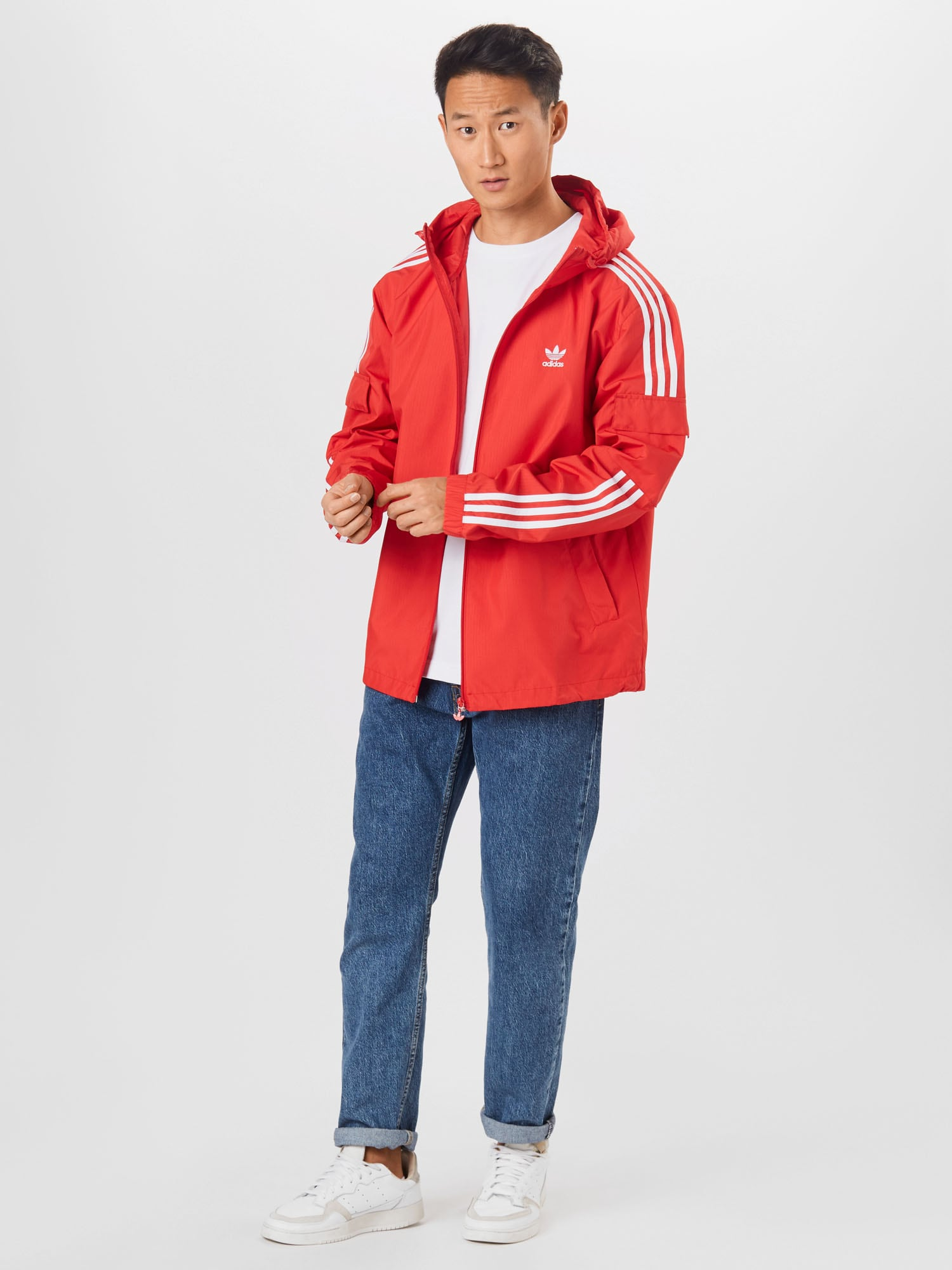 ADIDAS ORIGINALS Prechodná bunda  svetločervená / biela.