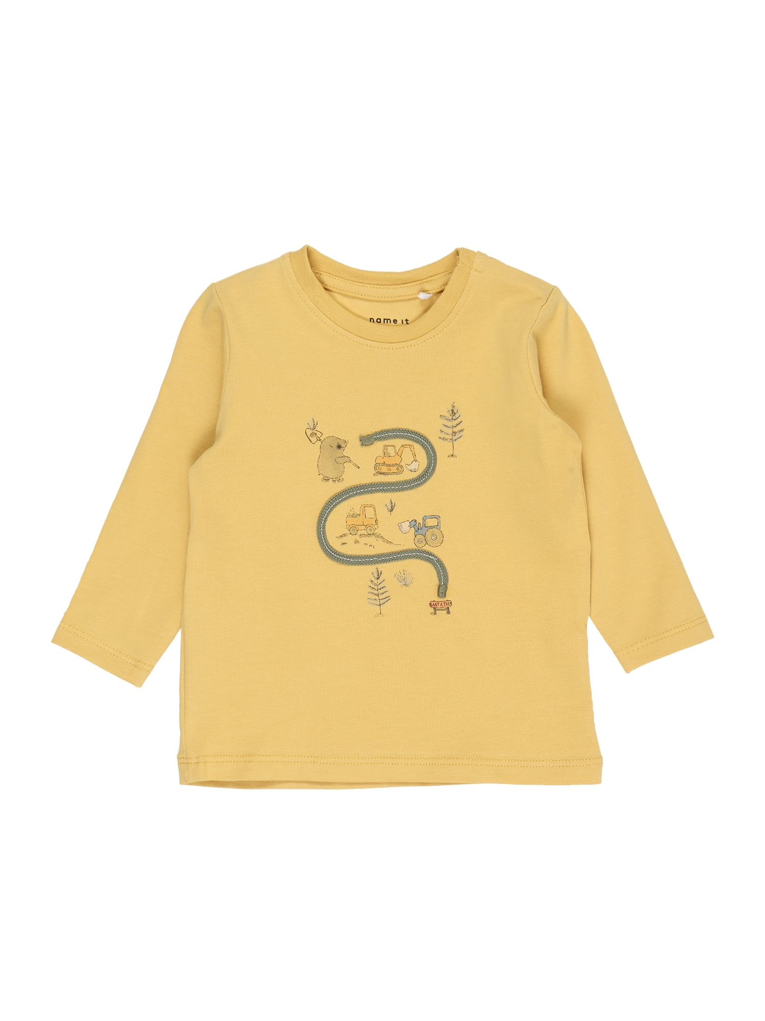 NAME IT Marškinėliai 'DADIM' oranžinė / tamsiai pilka / balta / mėlyna dūmų spalva