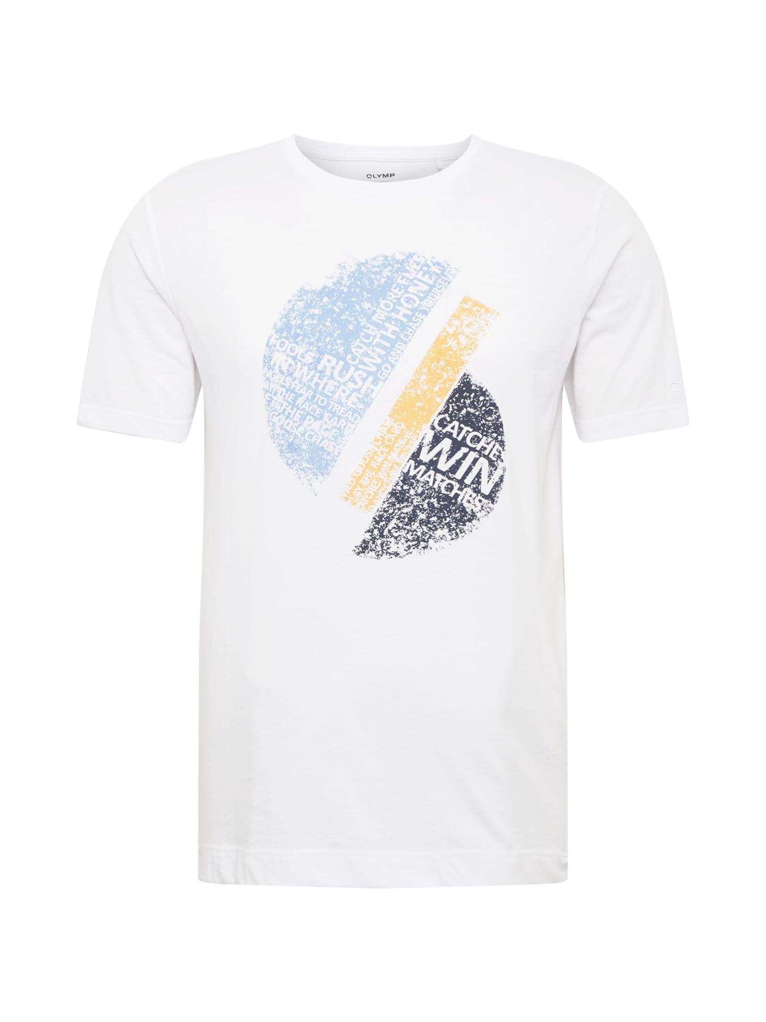 OLYMP Marškinėliai balta / šviesiai mėlyna / šviesiai geltona / pilka