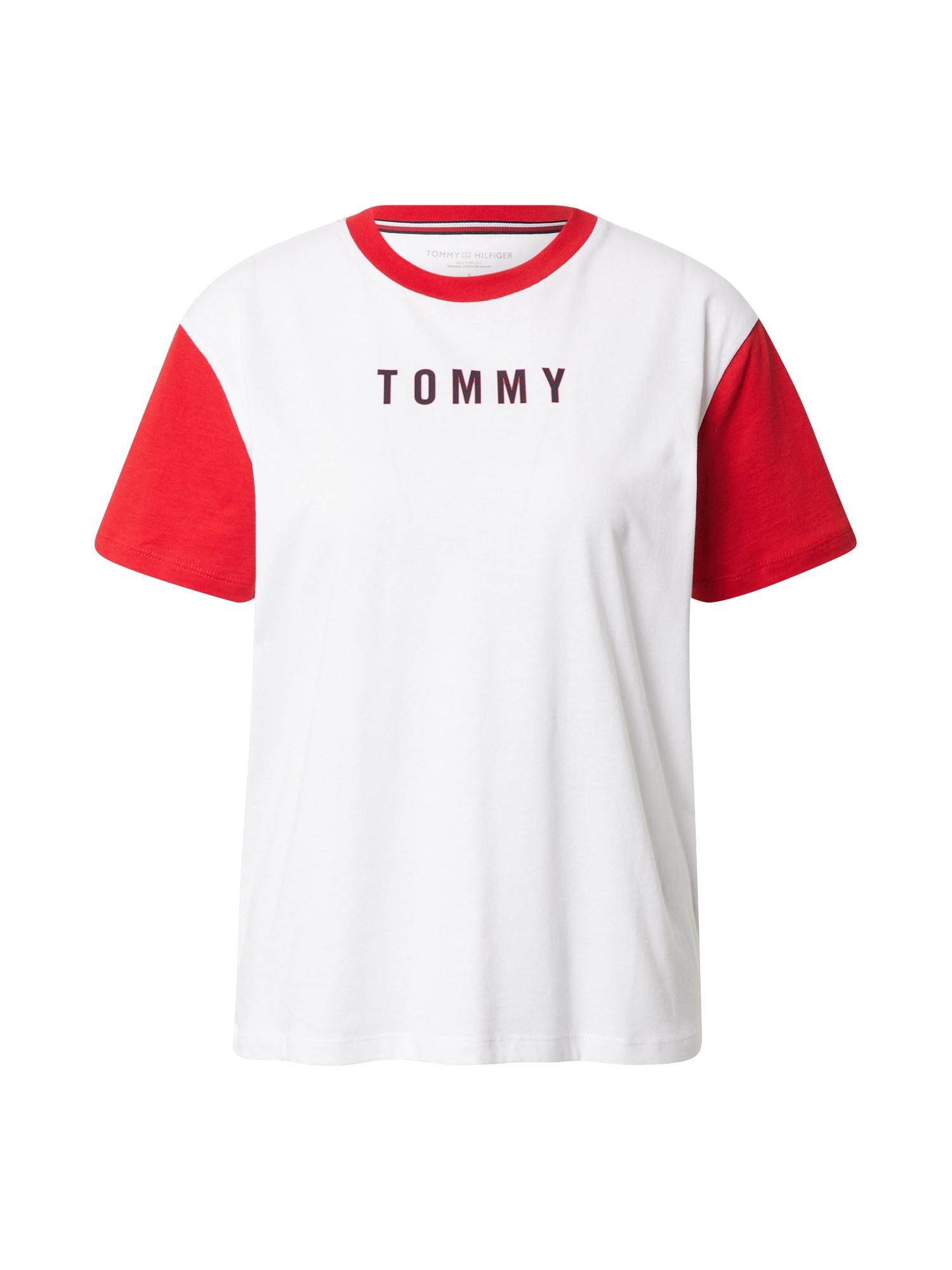 Tommy Hilfiger Underwear Pižaminiai marškinėliai balta / raudona