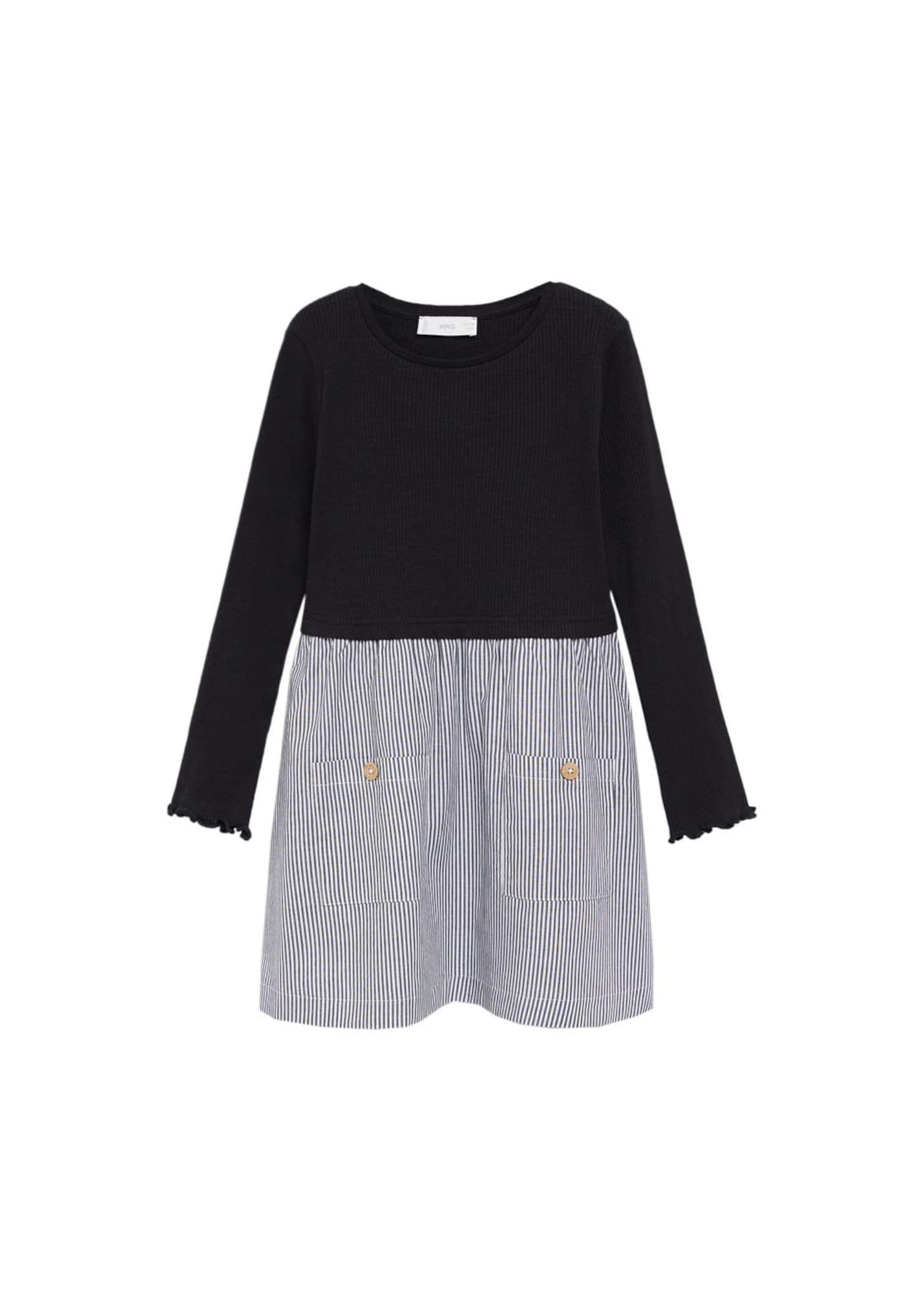 MANGO KIDS Šaty 'Belinda'  černá / bílá / tmavě šedá