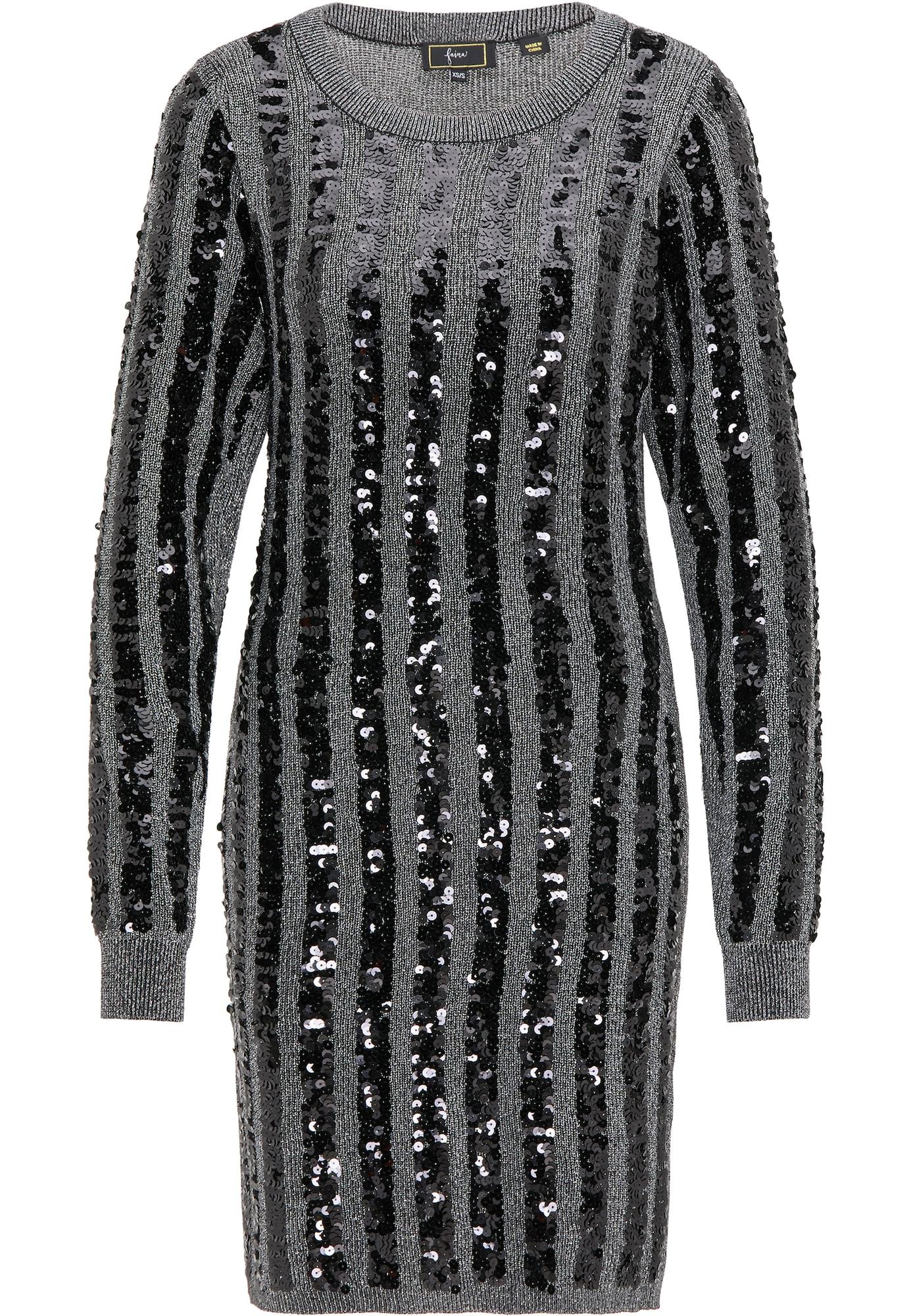 faina Megzta suknelė juoda / pilka