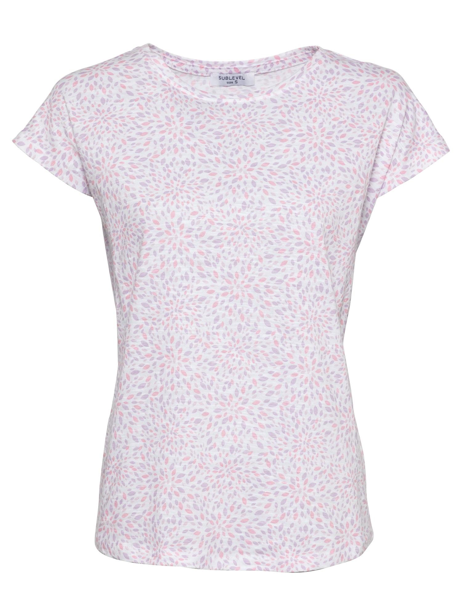 Sublevel Marškinėliai balta / šviesiai violetinė / rožinė