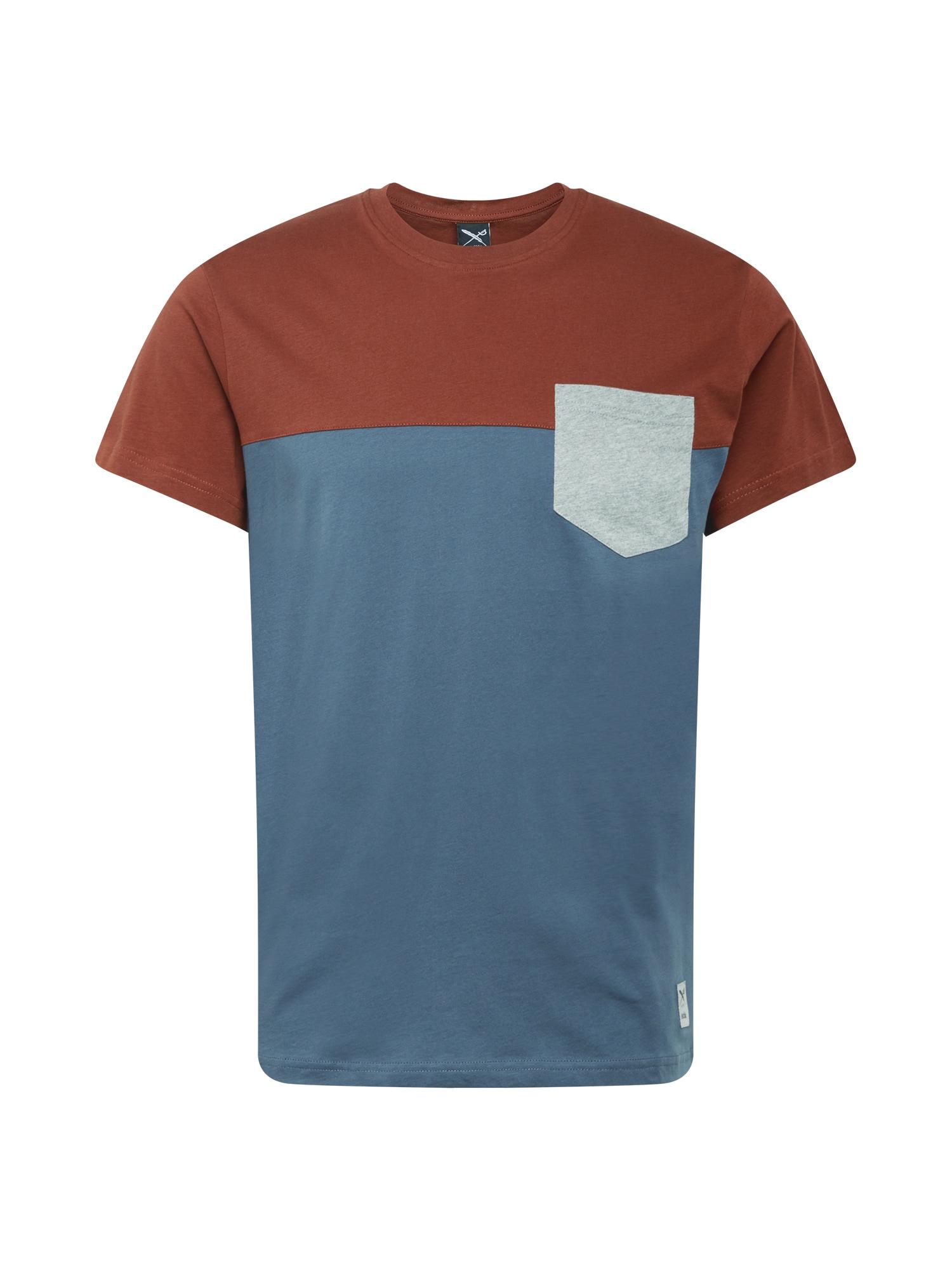 Iriedaily Marškinėliai rusva / mėlyna dūmų spalva / šviesiai pilka