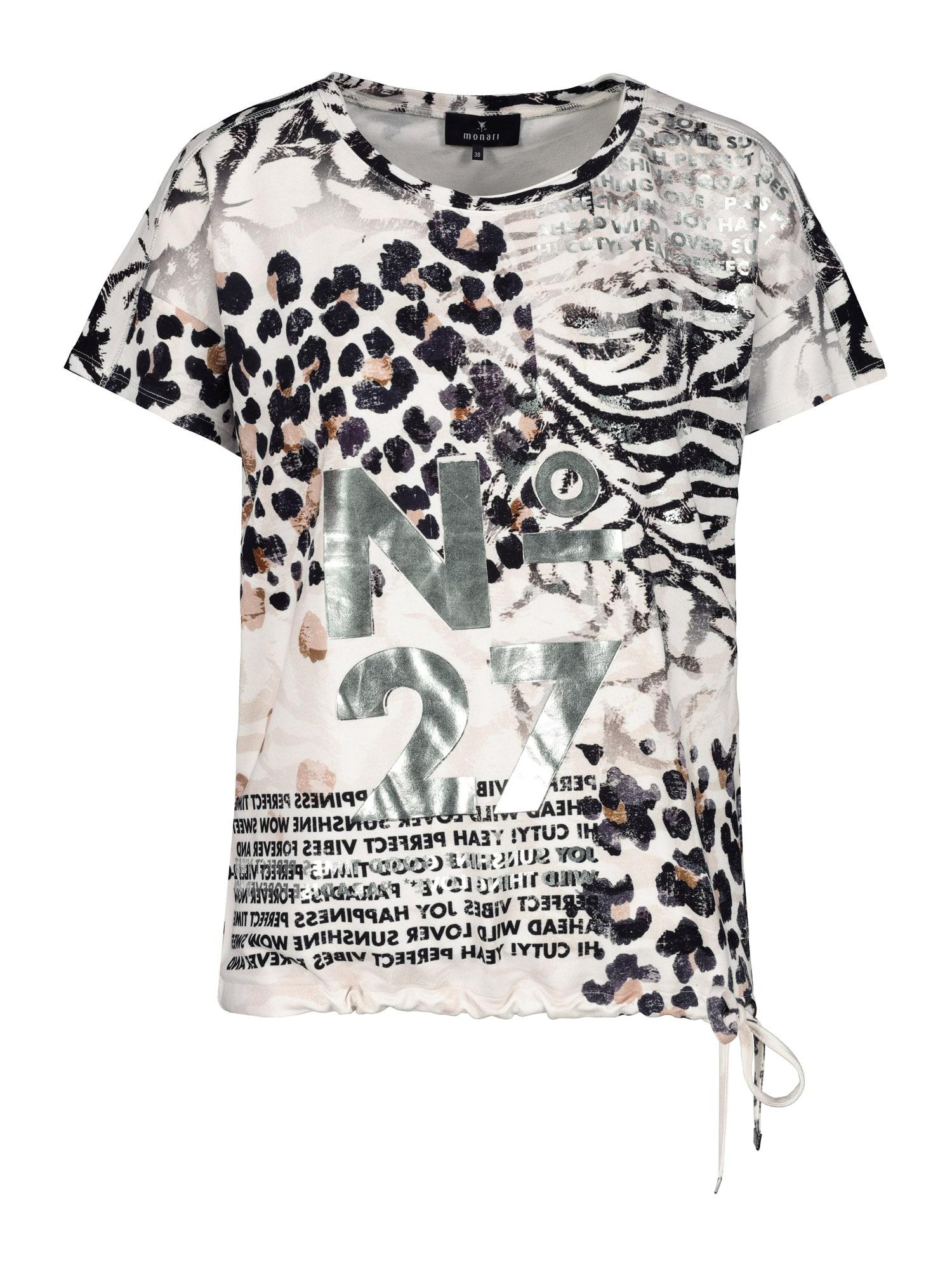 monari Marškinėliai balkšva / juoda / sidabrinė / smėlio
