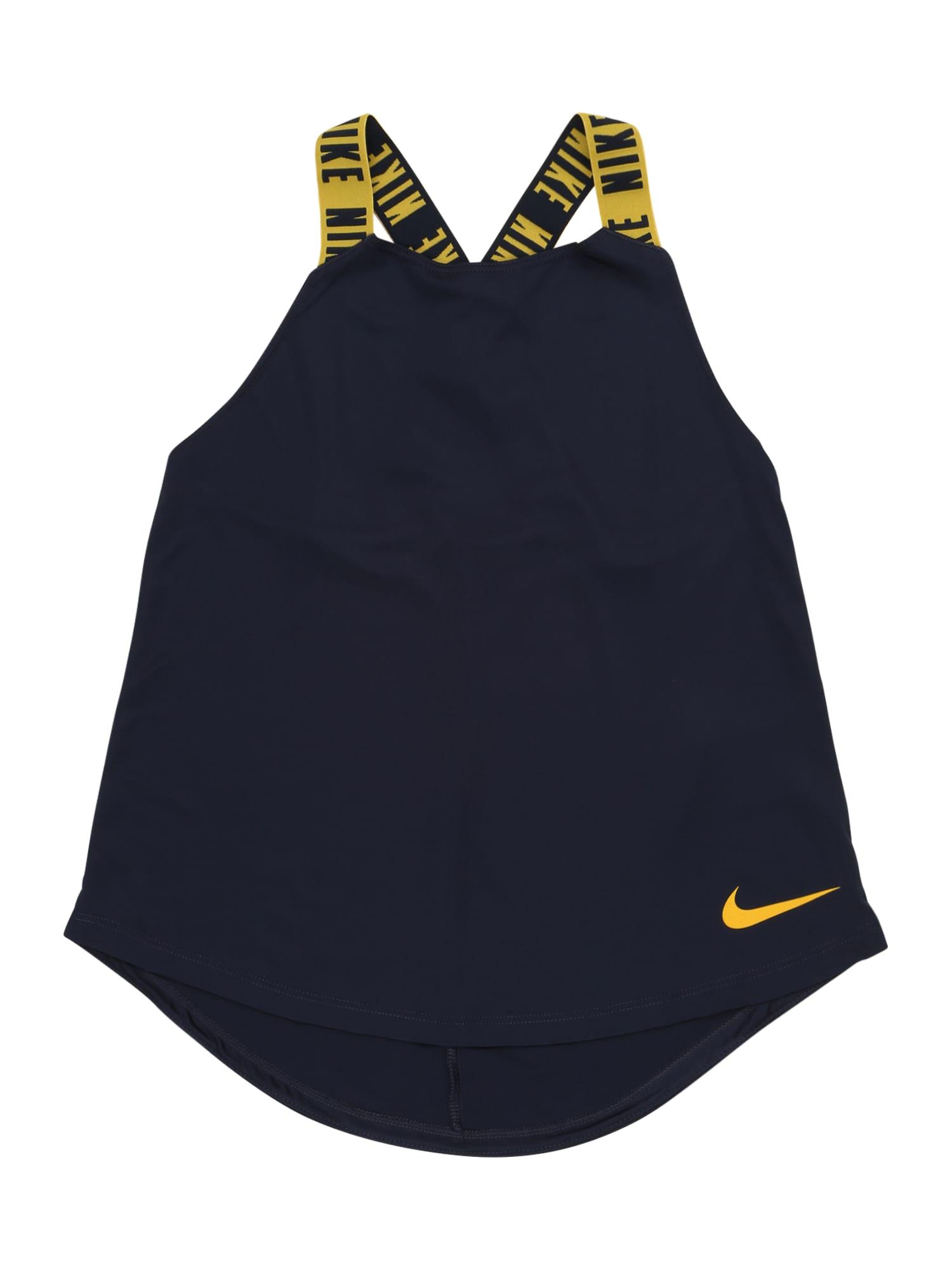 NIKE Sportovní top 'ELASTIKA'  zlatě žlutá / tmavě modrá