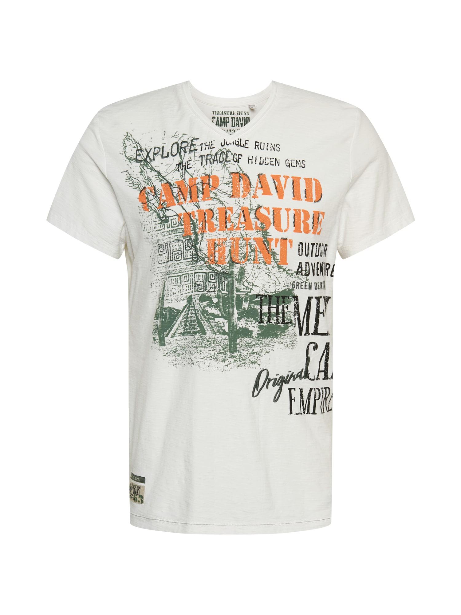CAMP DAVID Marškinėliai balta / rusvai žalia / juoda / oranžinė