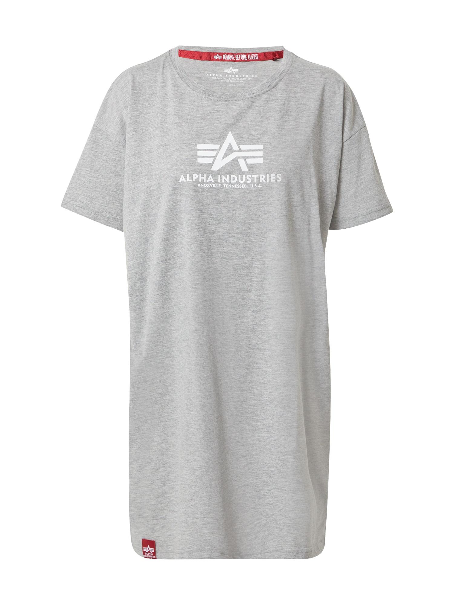 ALPHA INDUSTRIES Marškinėliai margai pilka / balta