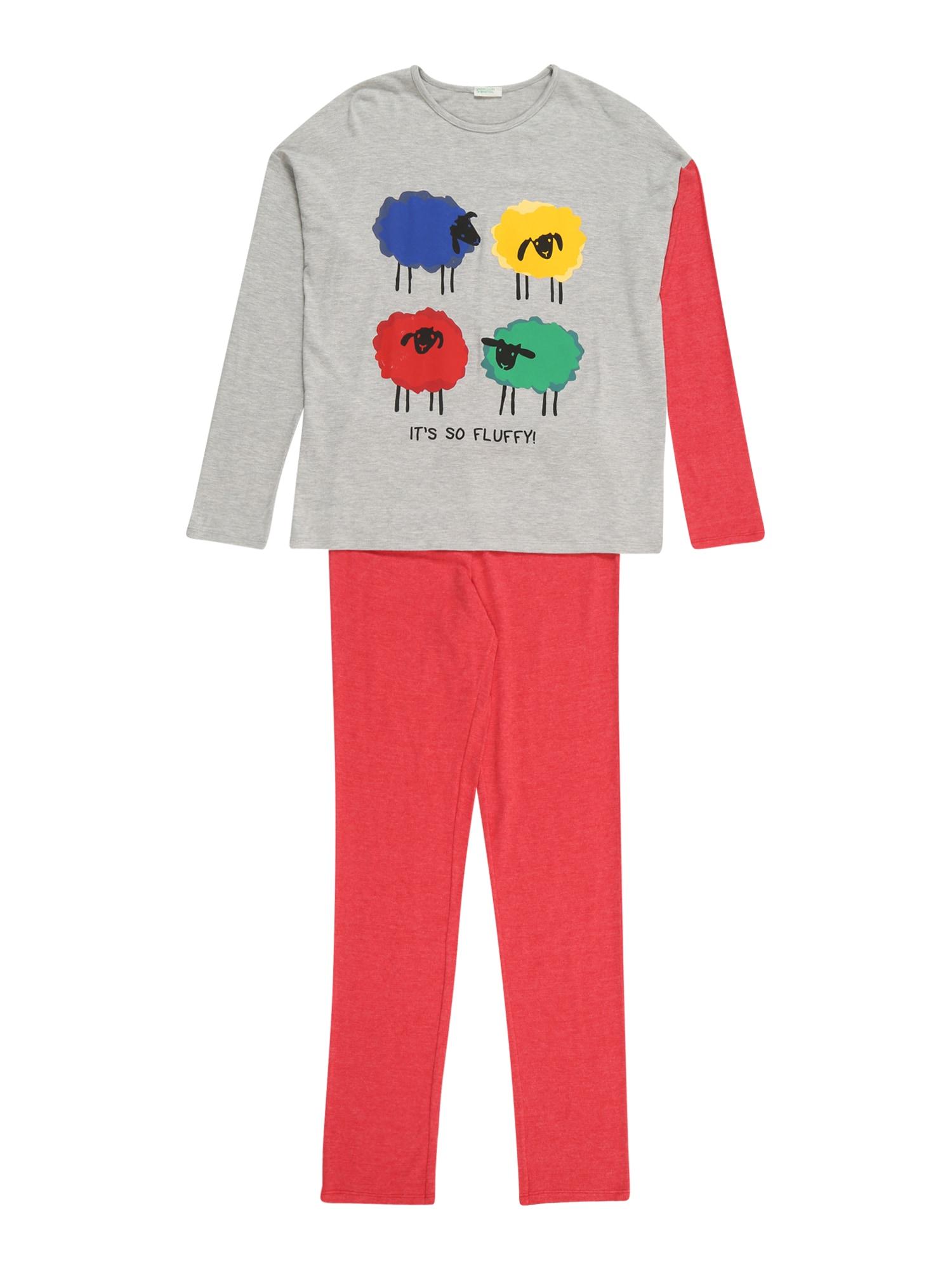 UNITED COLORS OF BENETTON Pyžamo  šedá / melounová / modrá / žlutá / mix barev