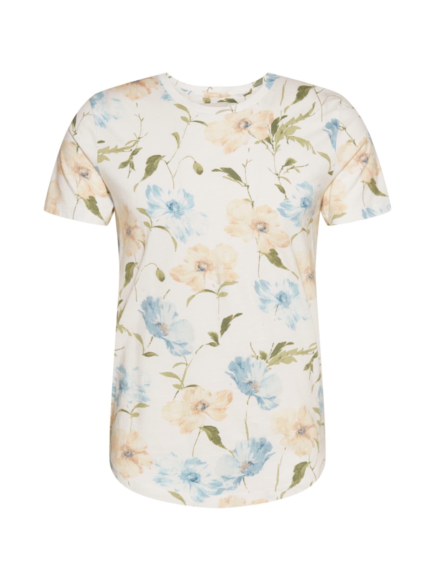 Abercrombie & Fitch Marškinėliai balta / šviesiai mėlyna / alyvuogių spalva / smėlio