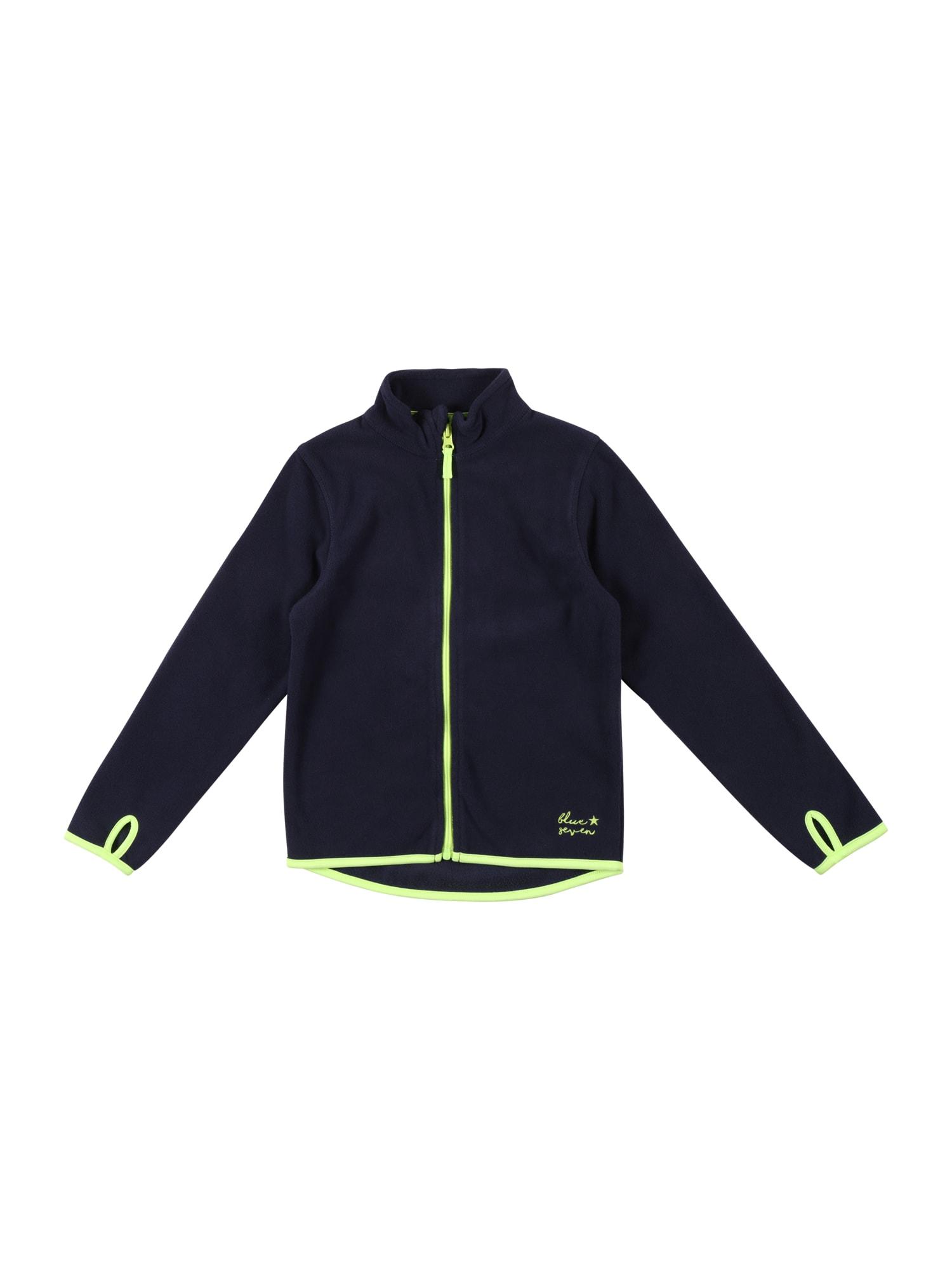 BLUE SEVEN Flisinis džemperis tamsiai mėlyna jūros spalva / neoninė žalia