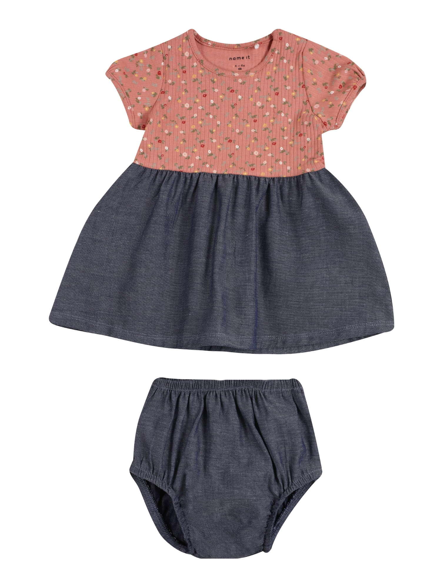 NAME IT Suknelė 'JANICE' ryškiai rožinė spalva / nakties mėlyna / mišrios spalvos