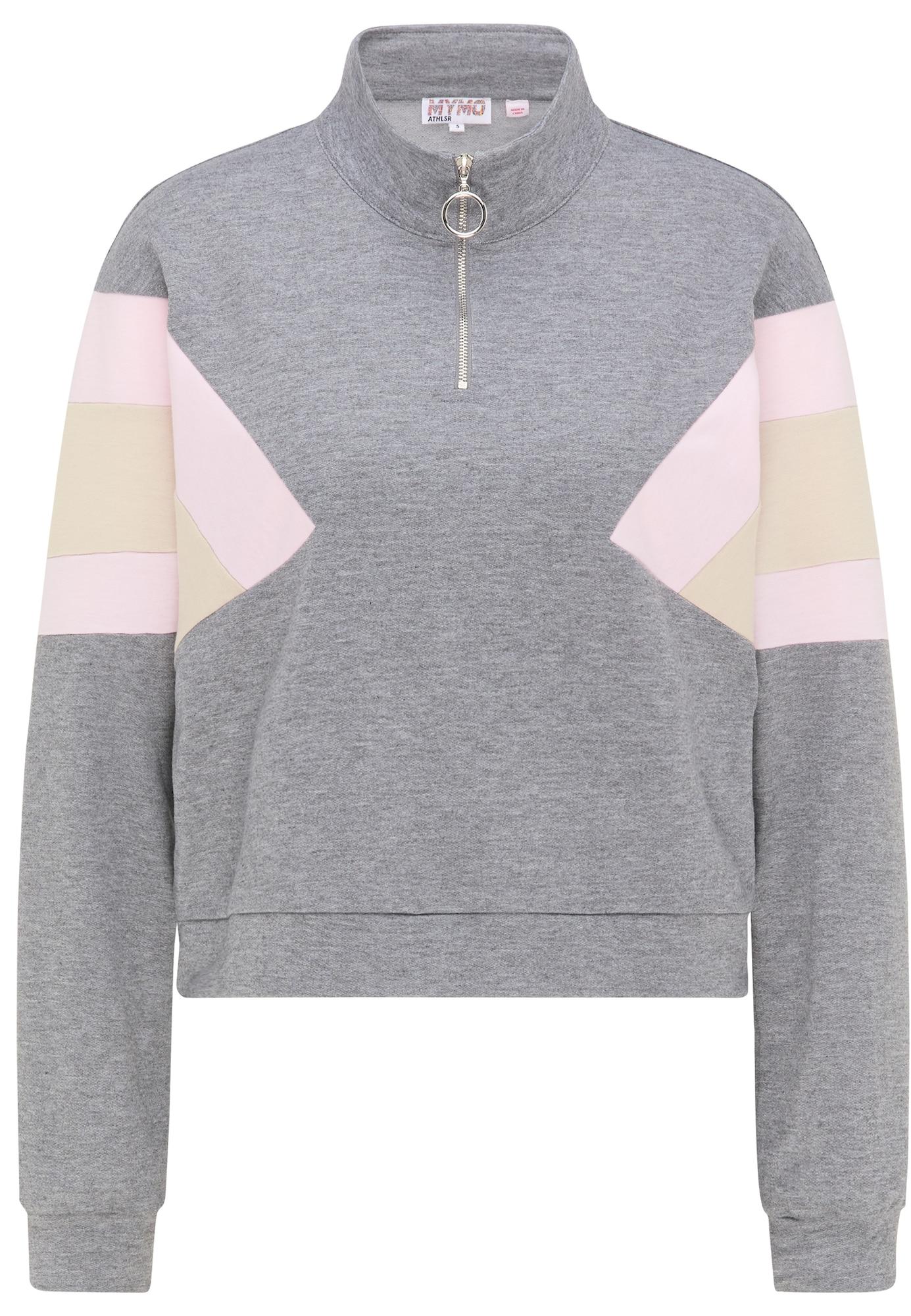myMo ATHLSR Sportinio tipo megztinis margai pilka / pastelinė rožinė / smėlio