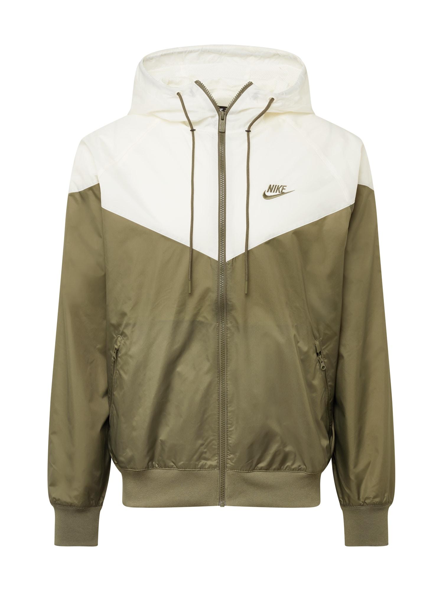 Nike Sportswear Demisezoninė striukė balta / alyvuogių spalva