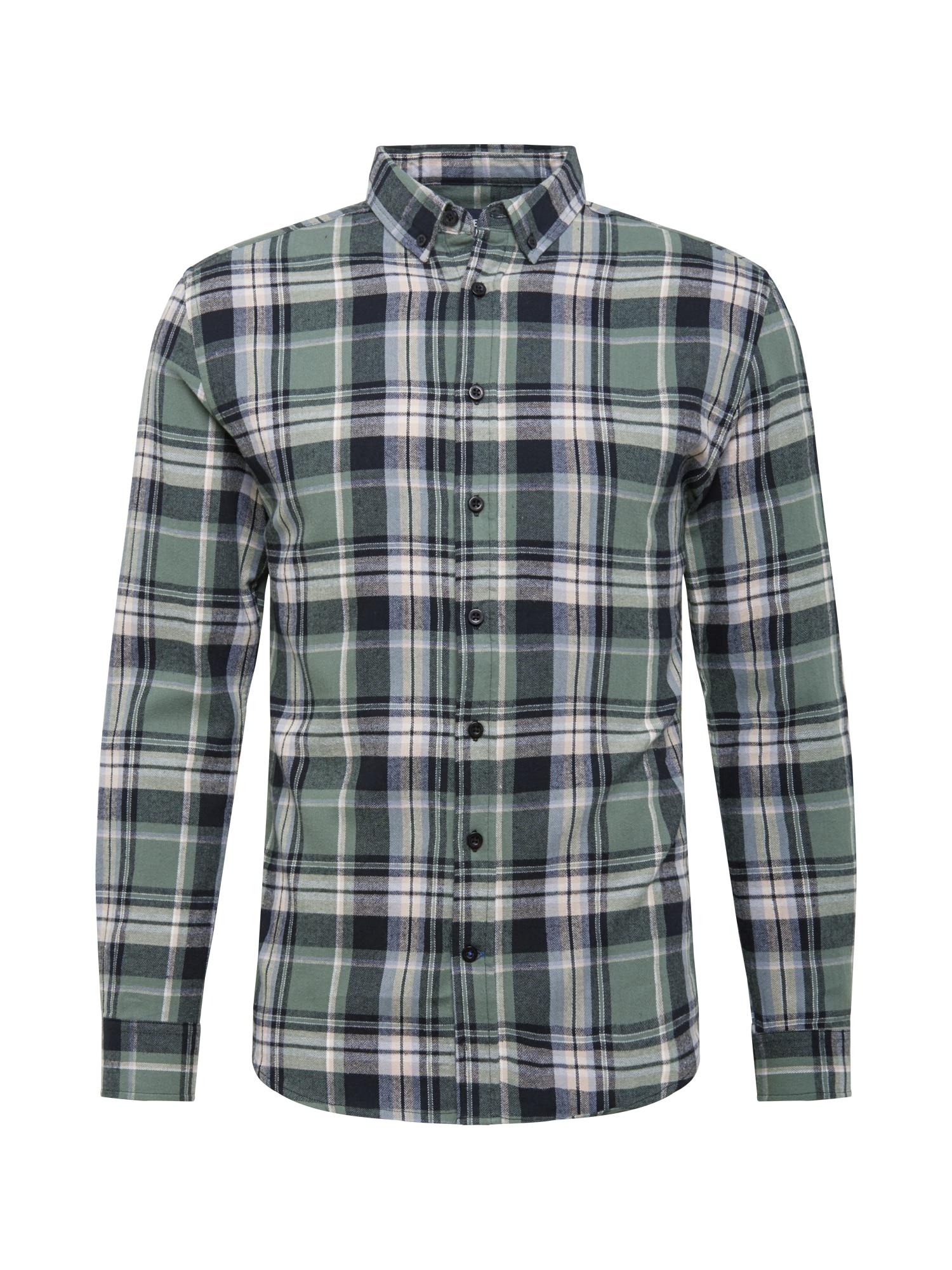 Denim Project Marškiniai juoda / rusvai žalia