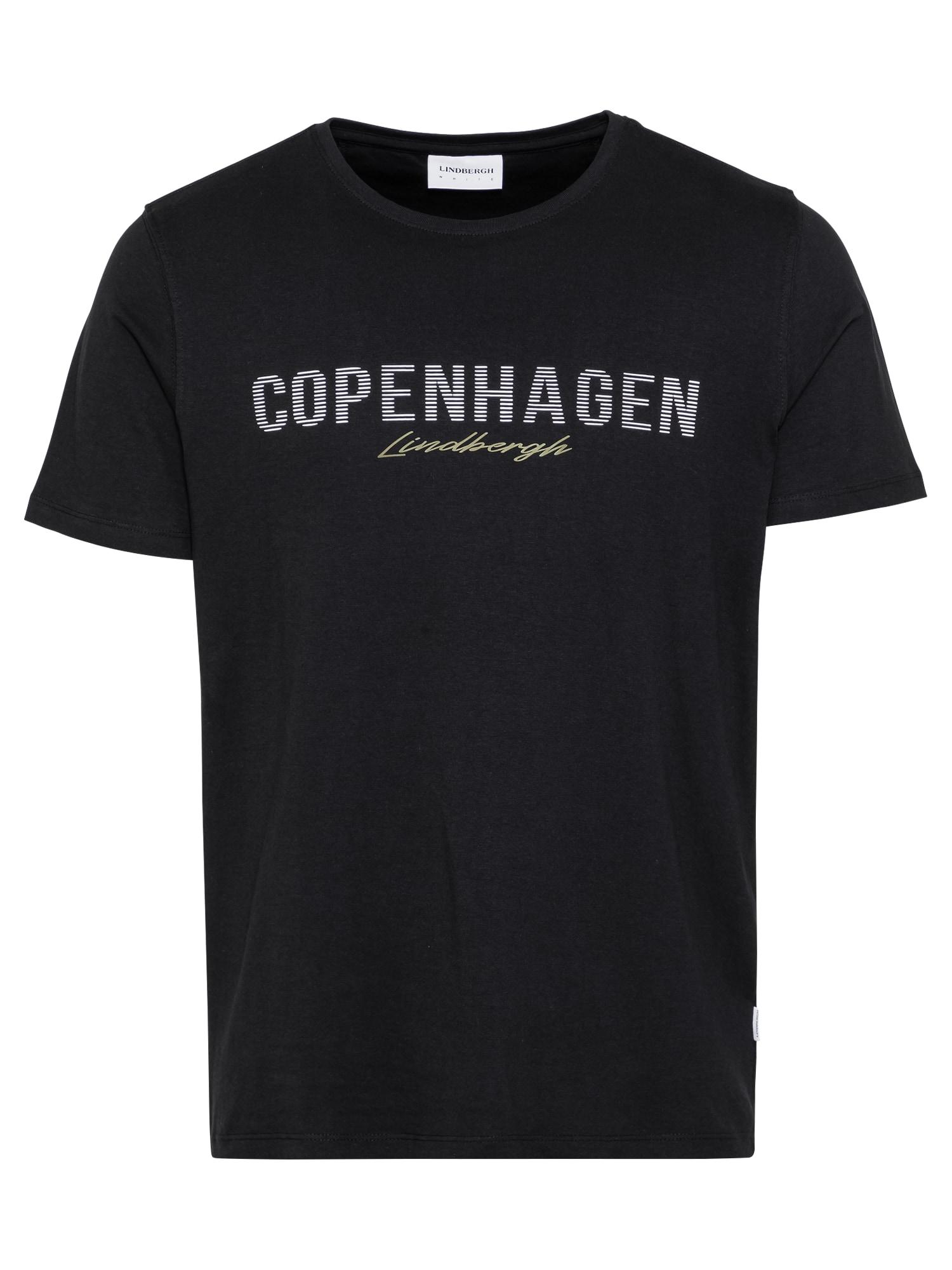 Lindbergh Marškinėliai juoda / balta / garstyčių spalva