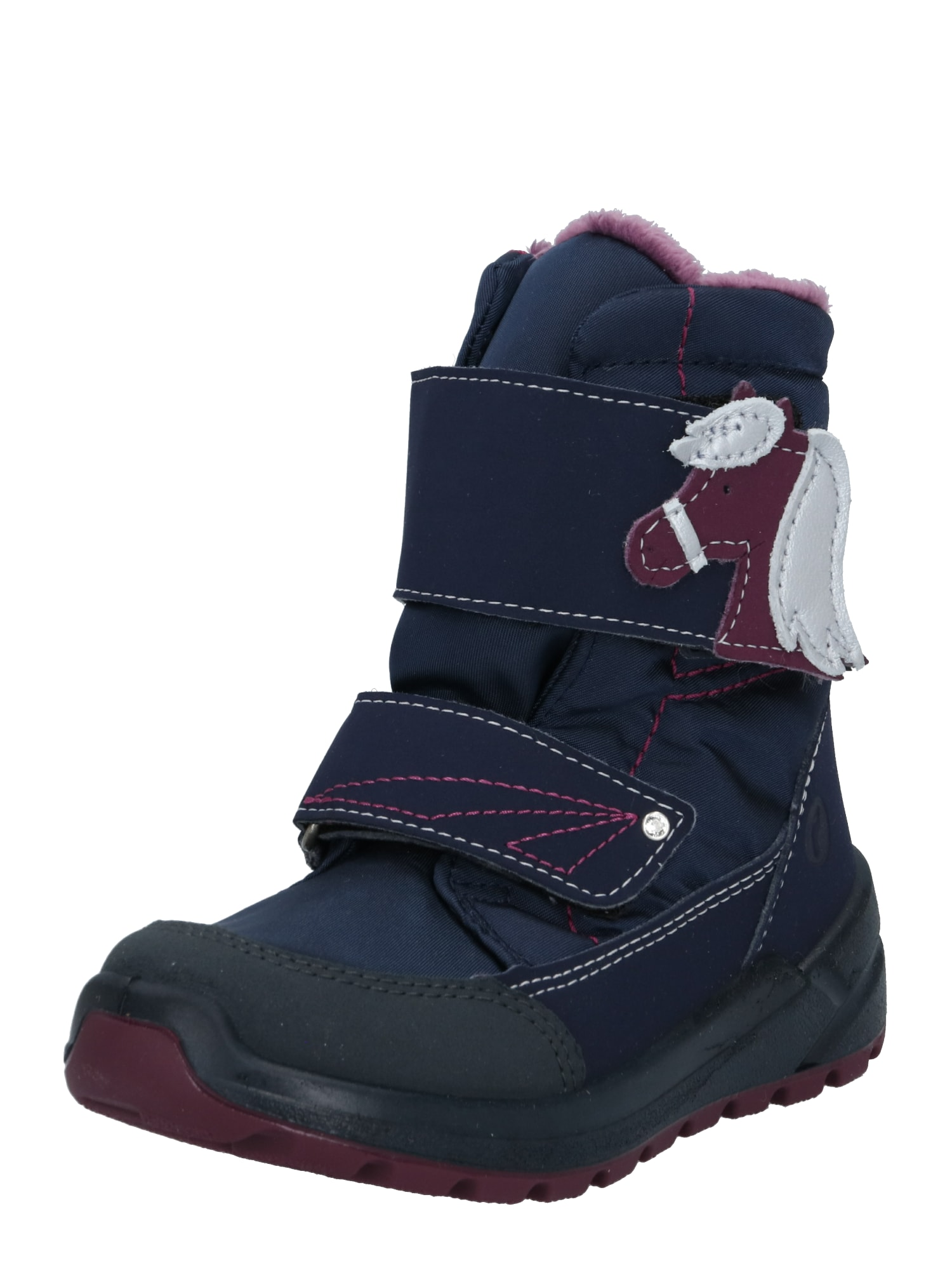 RICOSTA Sniego batai 'Garei' tamsiai mėlyna / juoda / rubinų raudona / balta / pastelinė violetinė