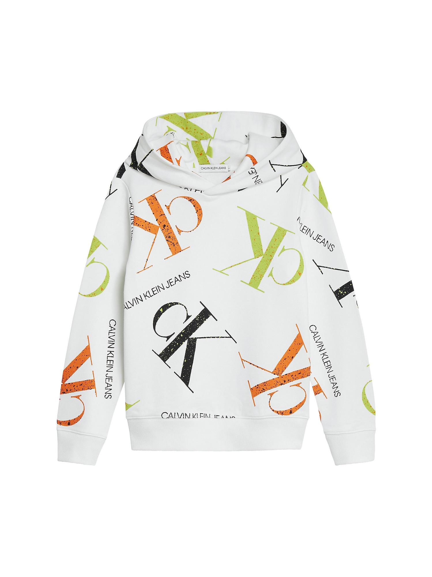 Calvin Klein Jeans Megztinis be užsegimo balta / žaliosios citrinos spalva / oranžinė / juoda