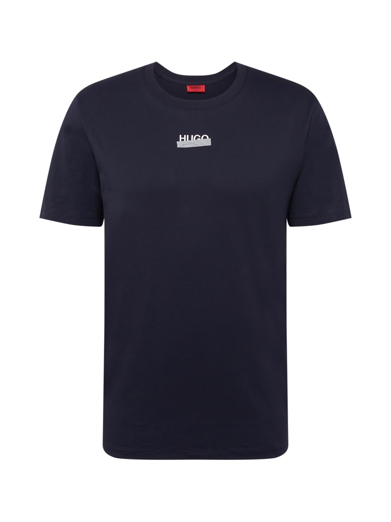 HUGO Tričko 'Durned'  námořnická modř / bílá / šedá