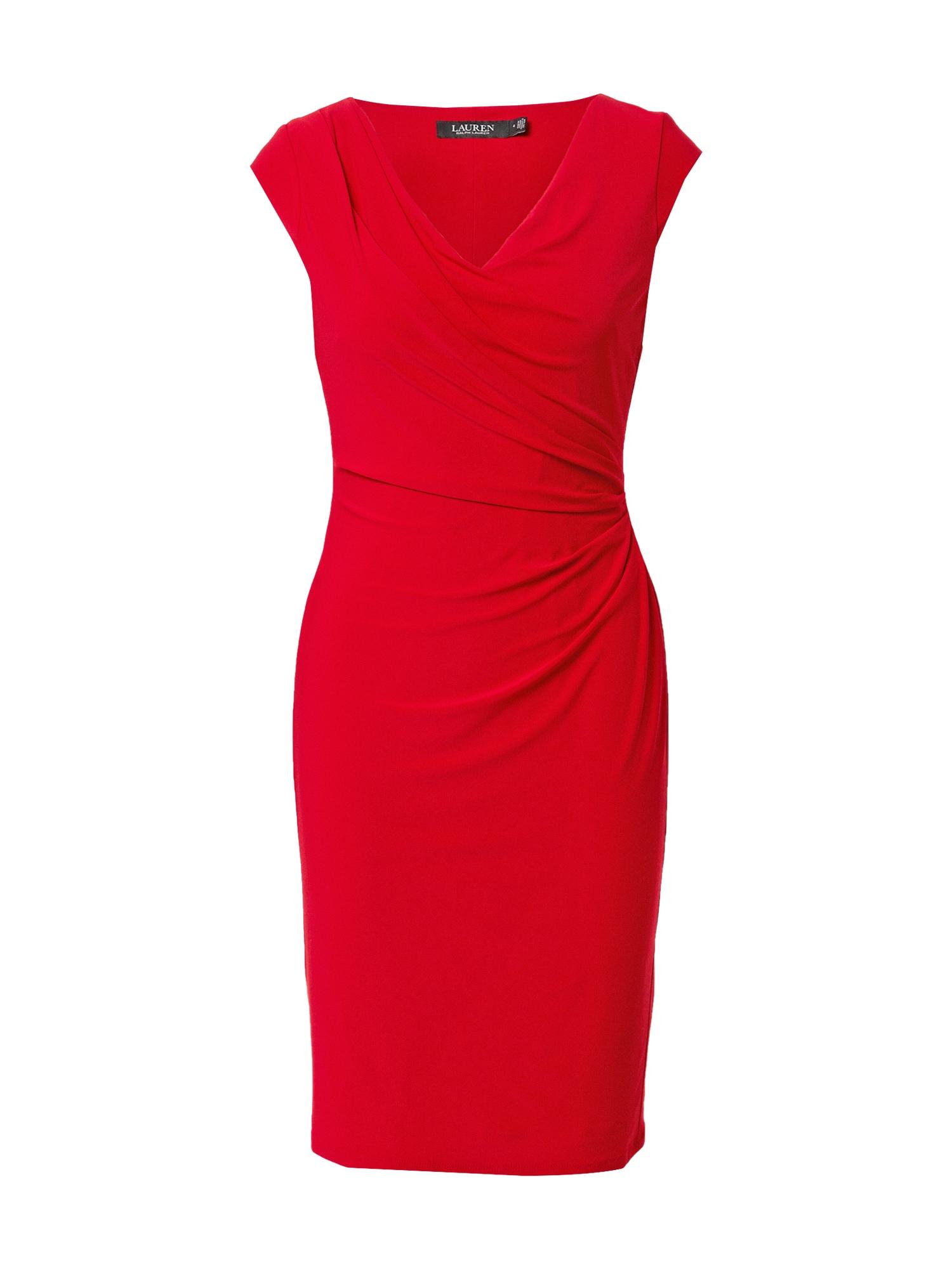 Lauren Ralph Lauren Trumpa kokteilinė suknelė raudona