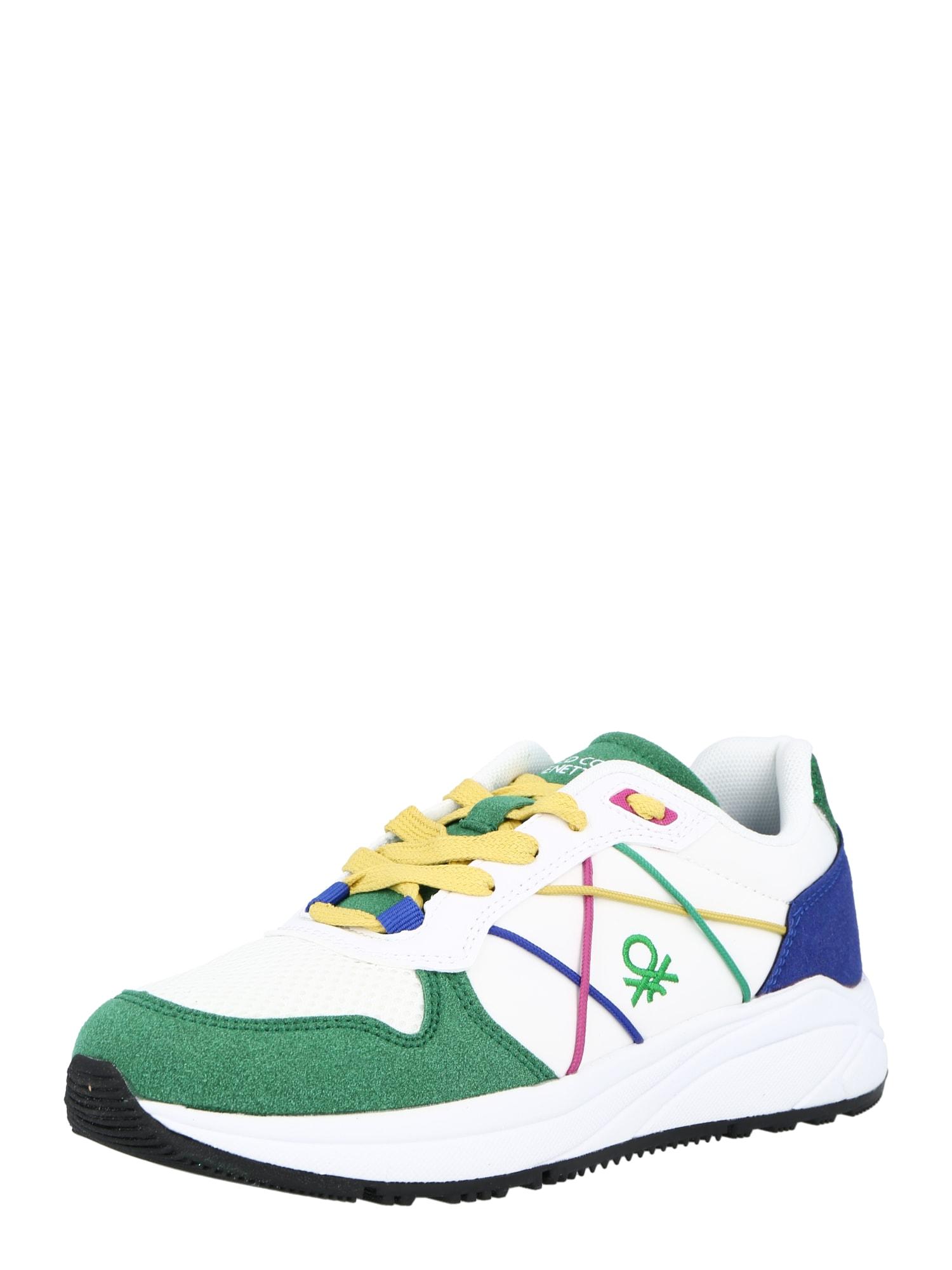 Benetton Footwear Sportbačiai be auliuko balta / tamsiai žalia / tamsiai mėlyna / pitajų spalva