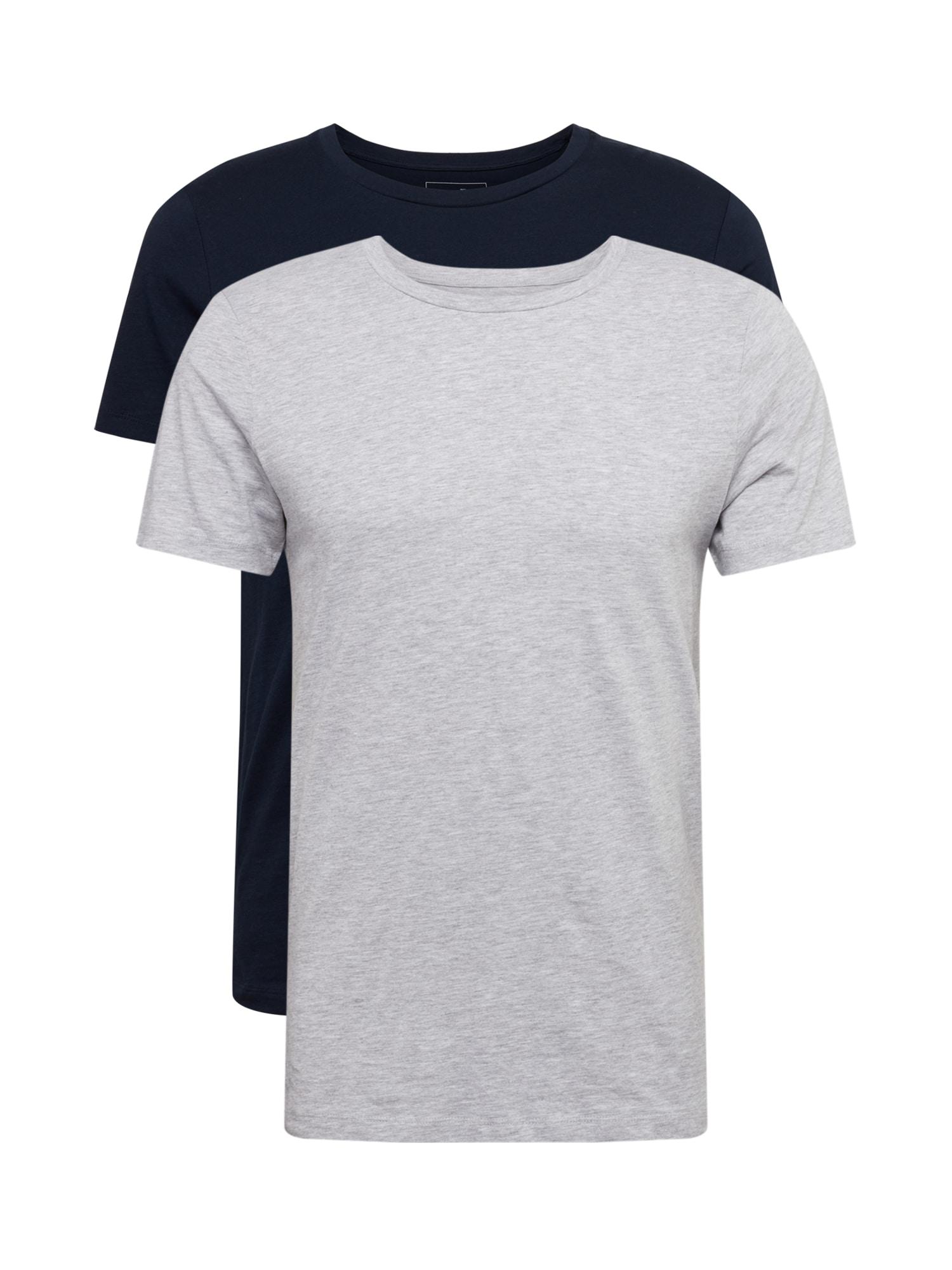 TOM TAILOR DENIM Marškinėliai tamsiai mėlyna jūros spalva / pilka