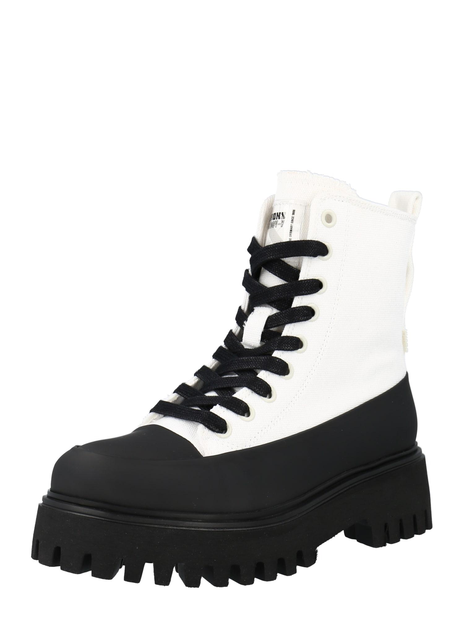 BRONX Suvarstomieji kulkšnis dengiantys batai balkšva / juoda