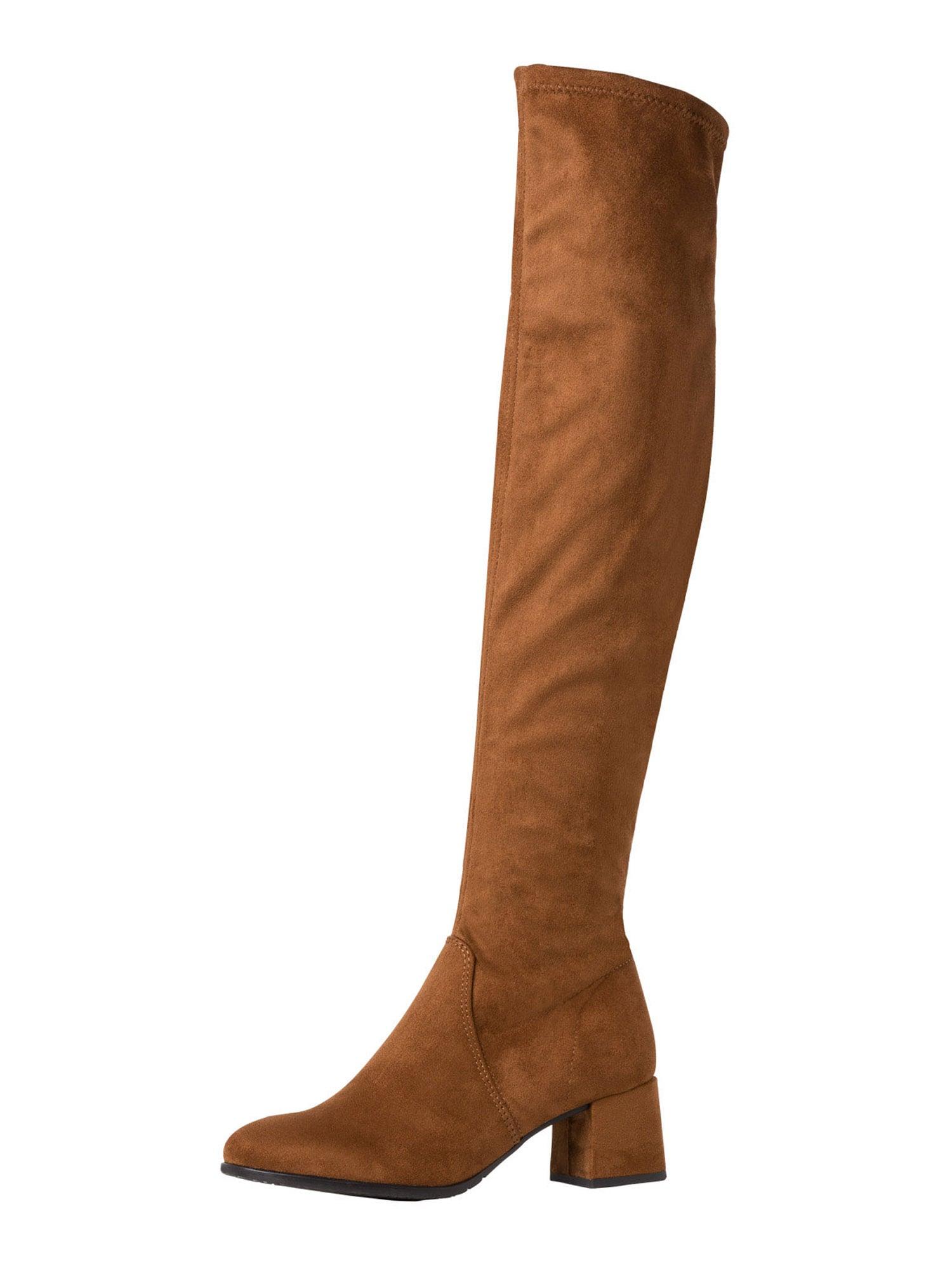TAMARIS Ilgaauliai batai virš kelių karamelės