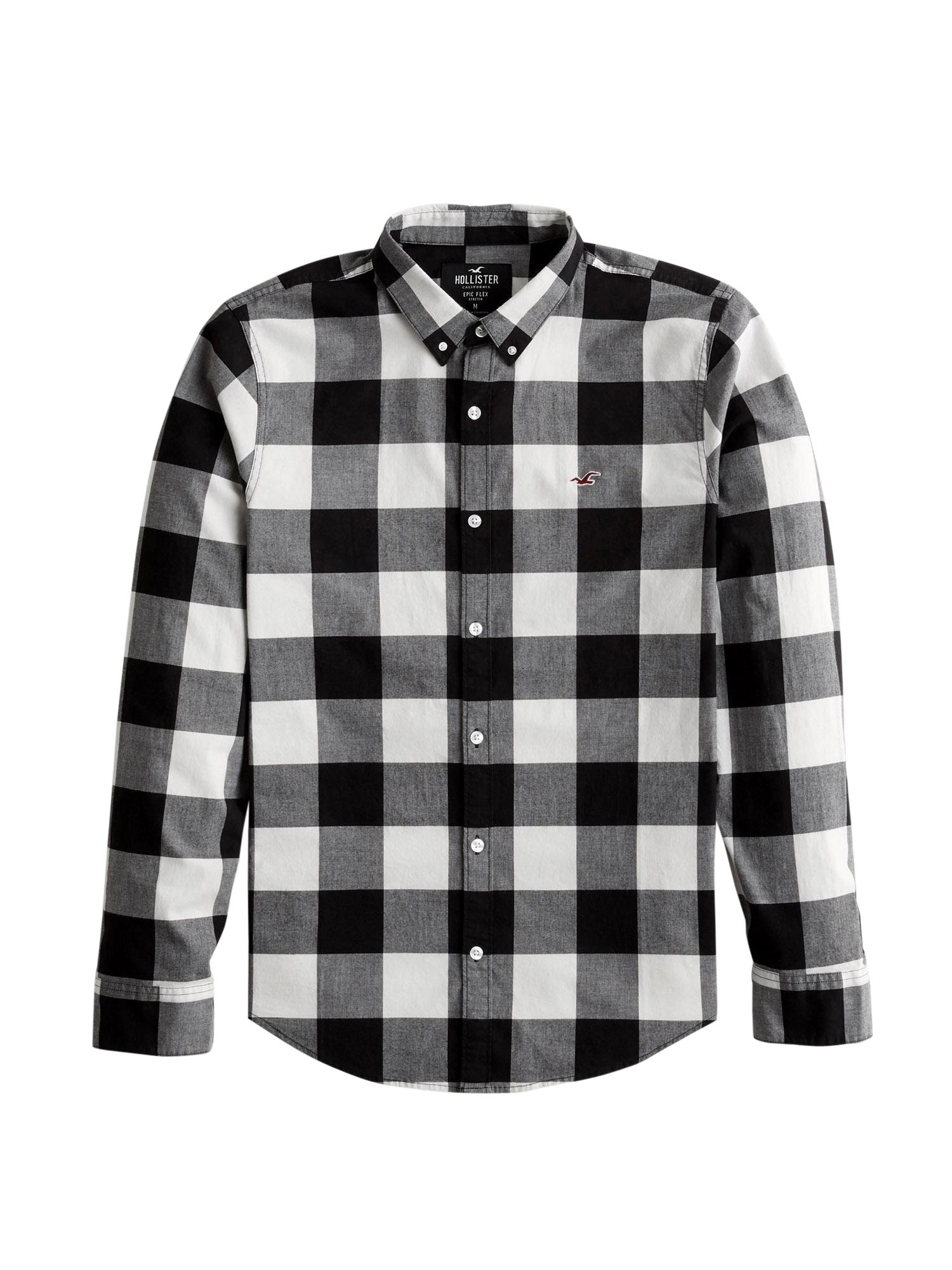 HOLLISTER Košile  černá / bílá / šedá